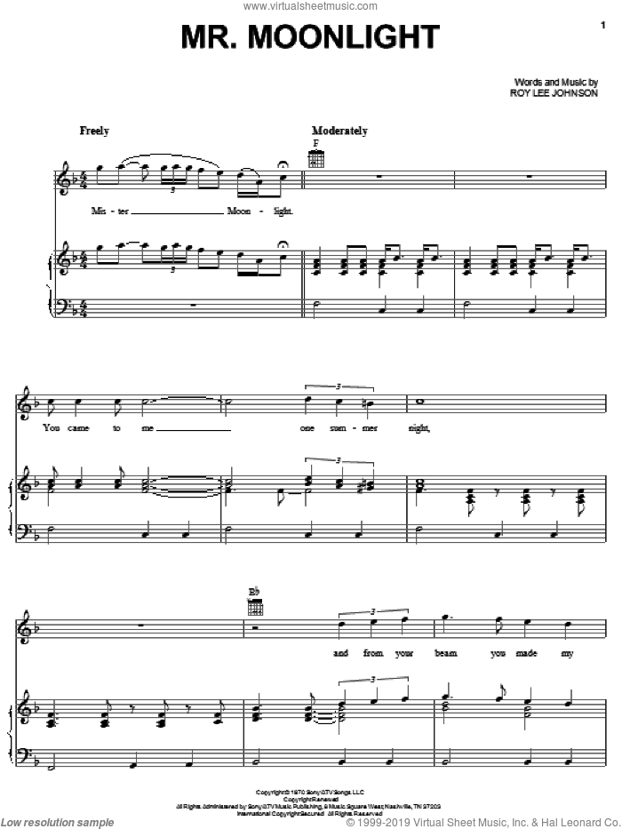 Mr. Moonlight sheet music for voice, piano or guitar by The Beatles and Roy Lee Johnson, intermediate skill level