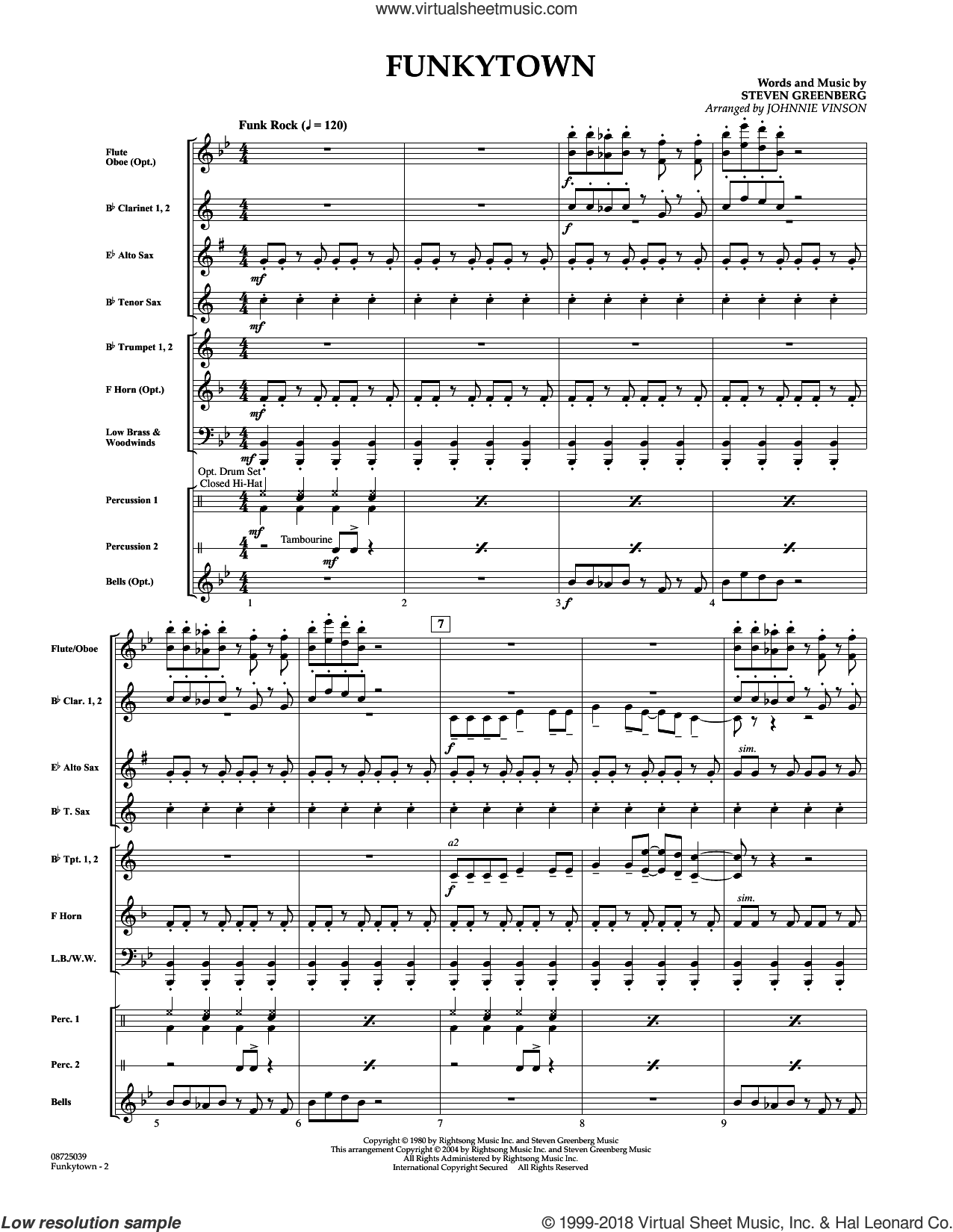 Funkytown (COMPLETE) sheet music for concert band by Johnnie Vinson, Alvin And The Chipmunks, Lipps Inc. and Steven Greenberg, intermediate. Score Image Preview.