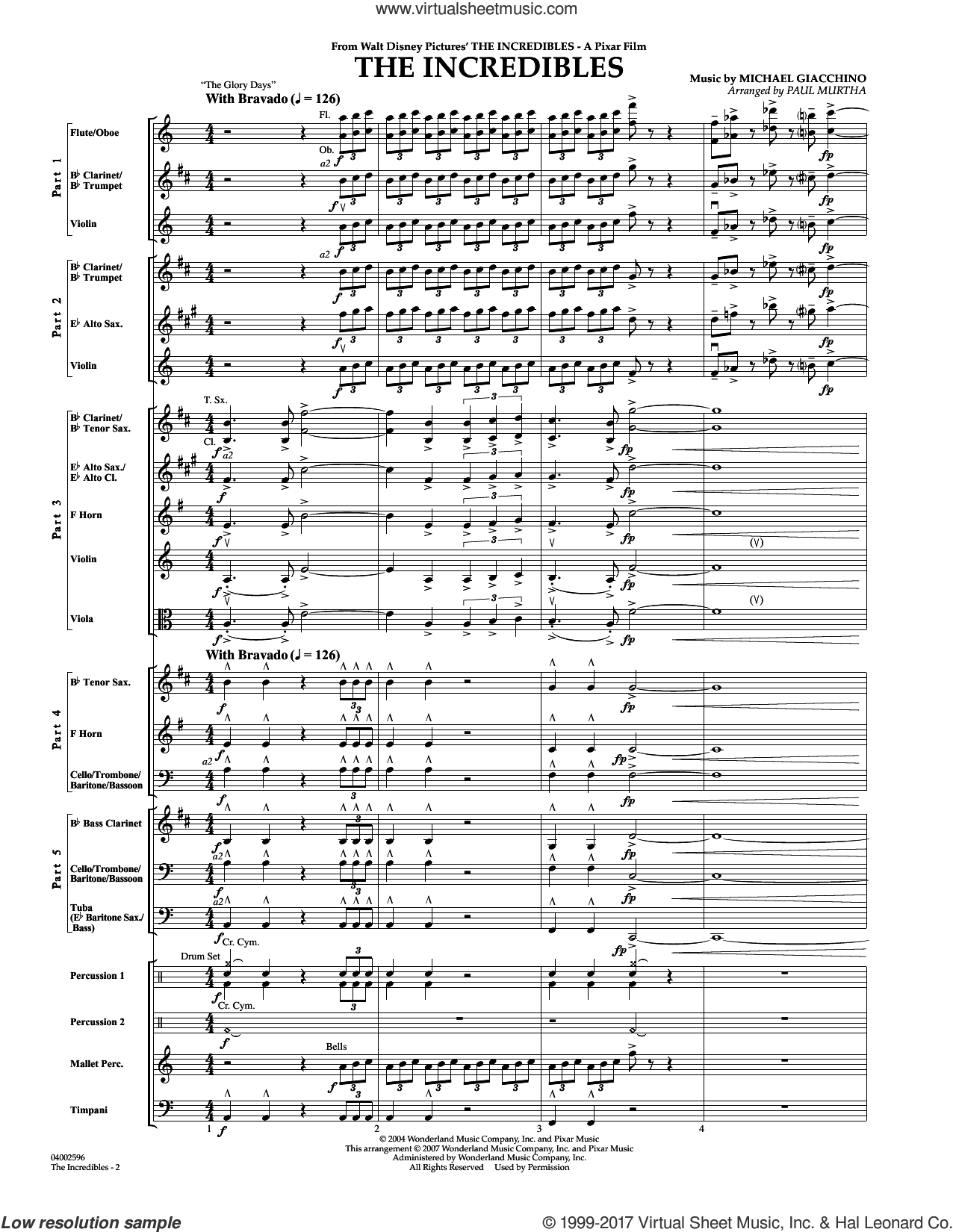 The Incredibles (COMPLETE) sheet music for concert band by Paul Murtha and Michael Giacchino, intermediate skill level
