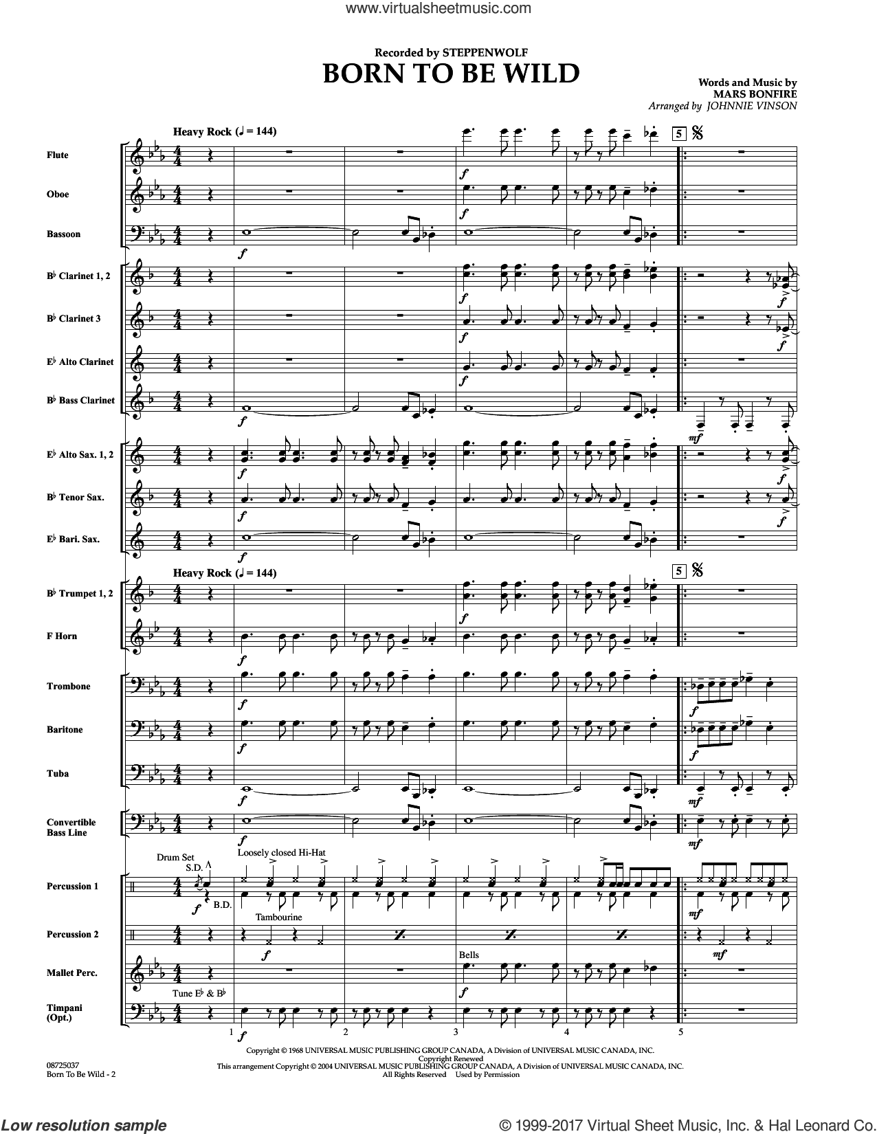 Born to Be Wild (COMPLETE) sheet music for concert band by Johnnie Vinson, Mars Bonfire and Steppenwolf, intermediate skill level