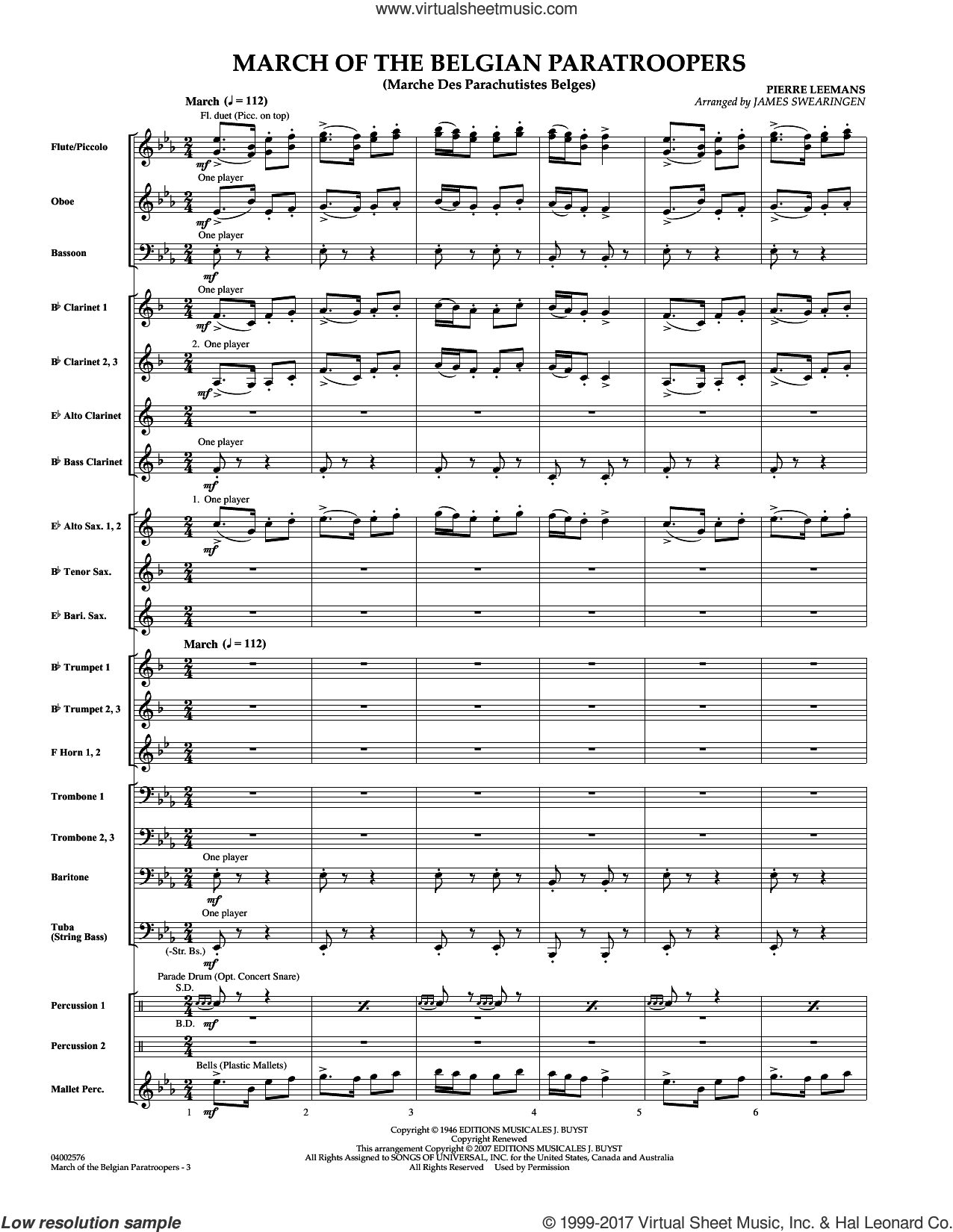 March Of The Belgian Paratroopers (COMPLETE) sheet music for concert band by James Swearingen and Pierre Leemans, intermediate. Score Image Preview.