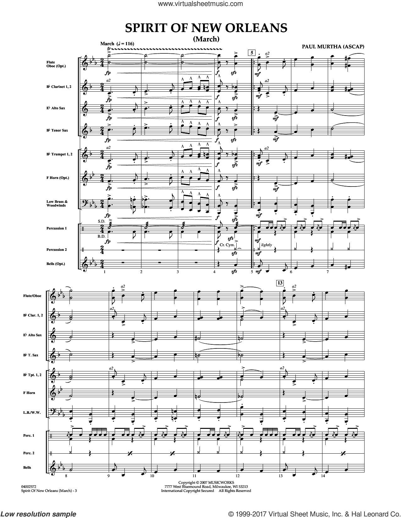 Spirit Of New Orleans (March) (COMPLETE) sheet music for concert band by Paul Murtha, intermediate skill level