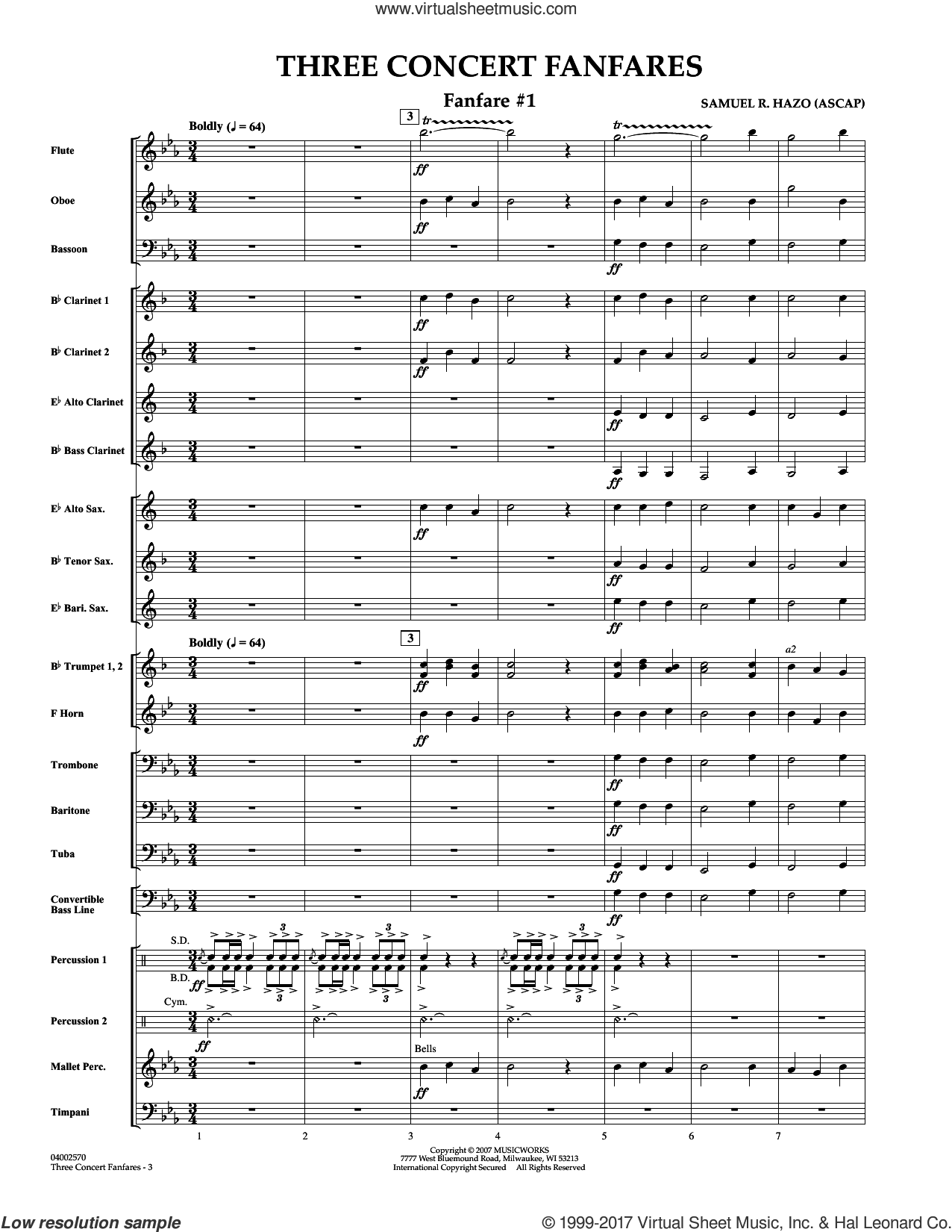 Three Concert Fanfares (COMPLETE) sheet music for concert band by Samuel R. Hazo, intermediate concert band. Score Image Preview.
