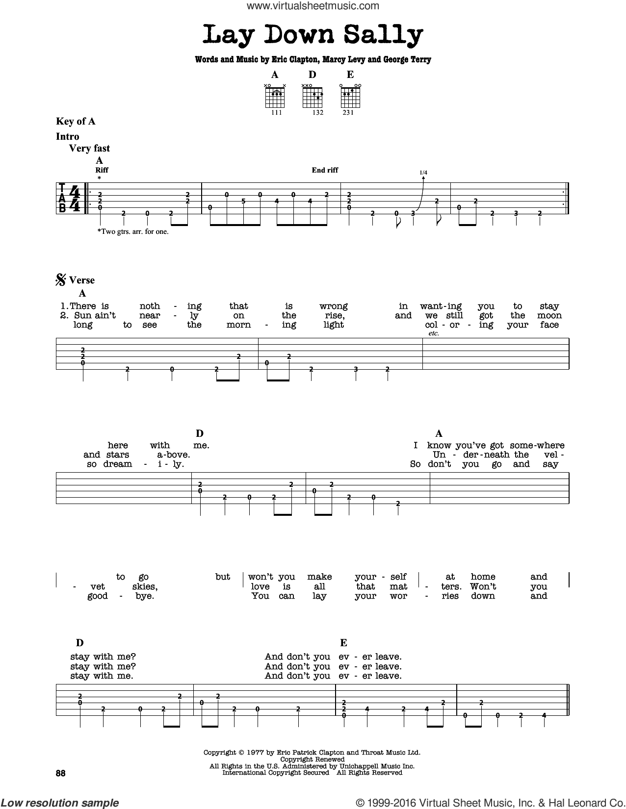 Lay Down Sally sheet music for guitar solo (lead sheet) by Eric Clapton, George Terry and Marcy Levy, intermediate guitar (lead sheet). Score Image Preview.