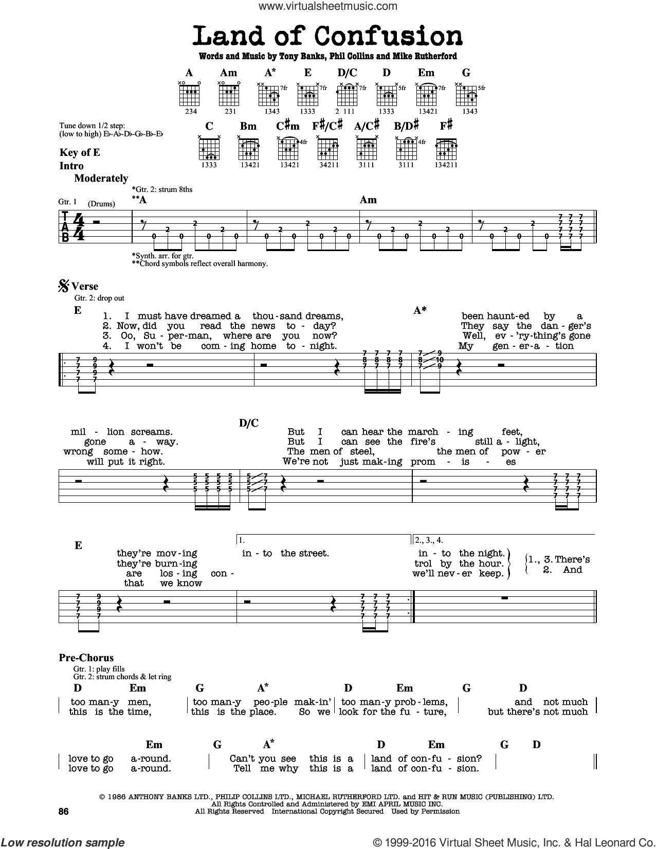 Land Of Confusion sheet music for guitar solo (lead sheet) by Genesis, Mike Rutherford, Phil Collins and Tony Banks, intermediate guitar (lead sheet)