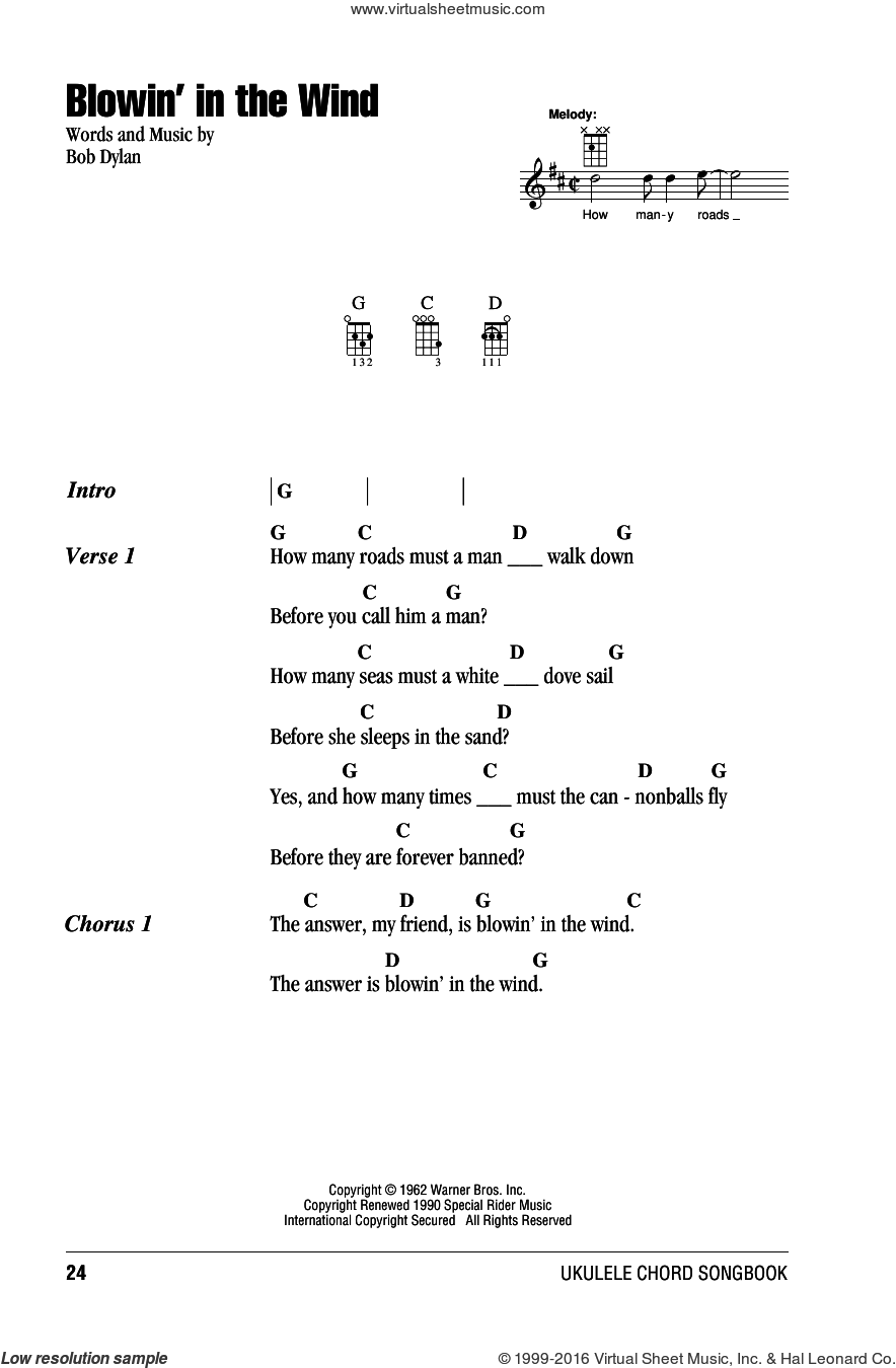 Blowin' In The Wind sheet music for ukulele (chords) by Bob Dylan