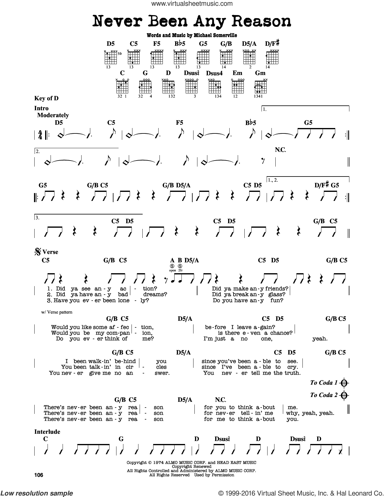 Never Been Any Reason sheet music for guitar solo (lead sheet) by Head East and Michael Somerville, intermediate guitar (lead sheet)