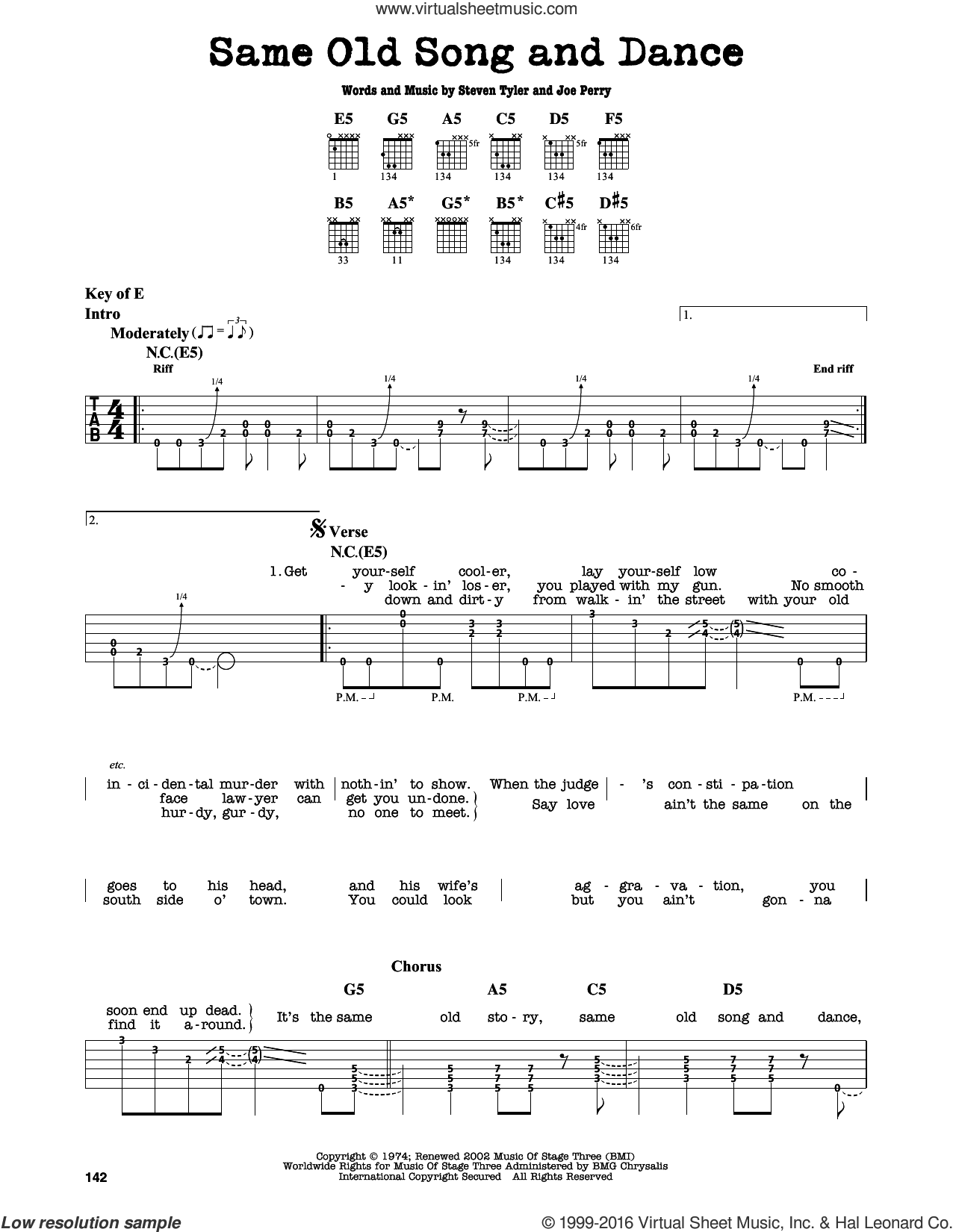 Same Old Song And Dance sheet music for guitar solo (lead sheet) by Aerosmith, Joe Perry and Steven Tyler, intermediate guitar (lead sheet)