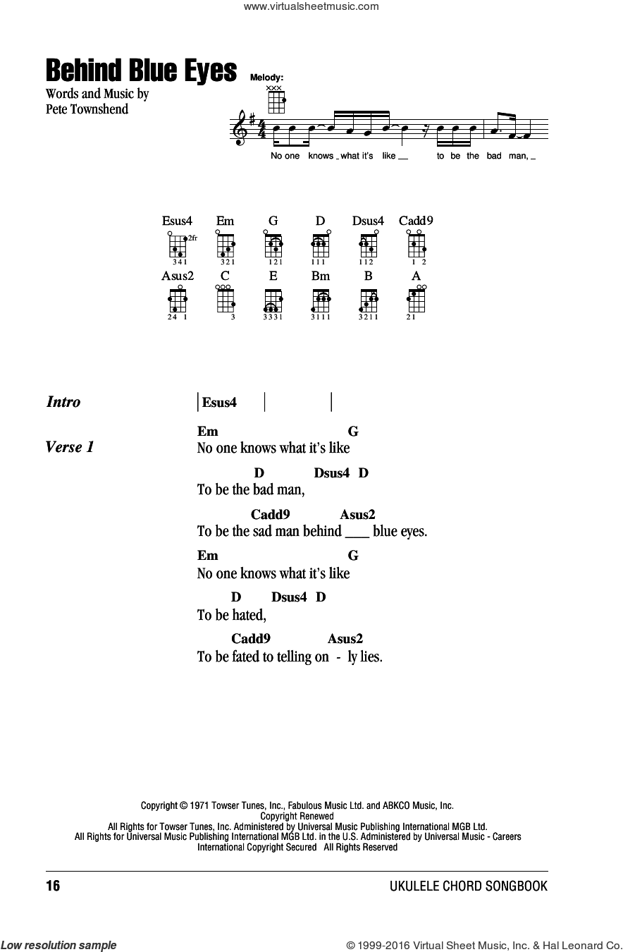 Behind Blue Eyes sheet music for ukulele (chords) by The Who, Limp Bizkit and Pete Townshend, intermediate skill level