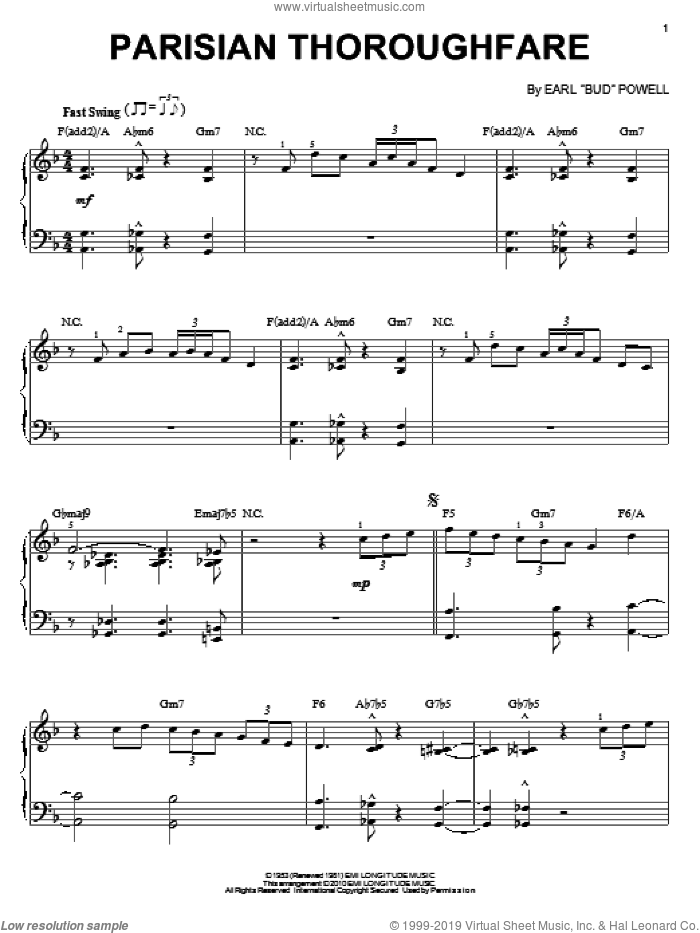 Parisian Thoroughfare sheet music for piano solo by Bud Powell. Score Image Preview.