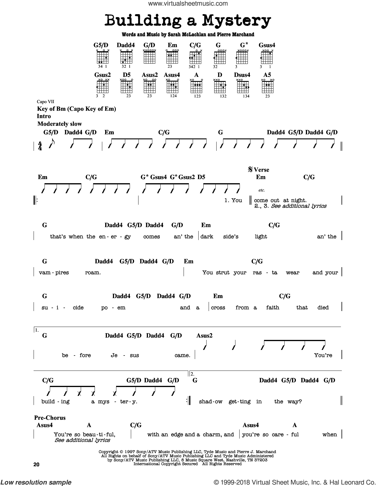 Building A Mystery sheet music for guitar solo (lead sheet) by Sarah McLachlan and Pierre Marchand, classical score, intermediate guitar (lead sheet)