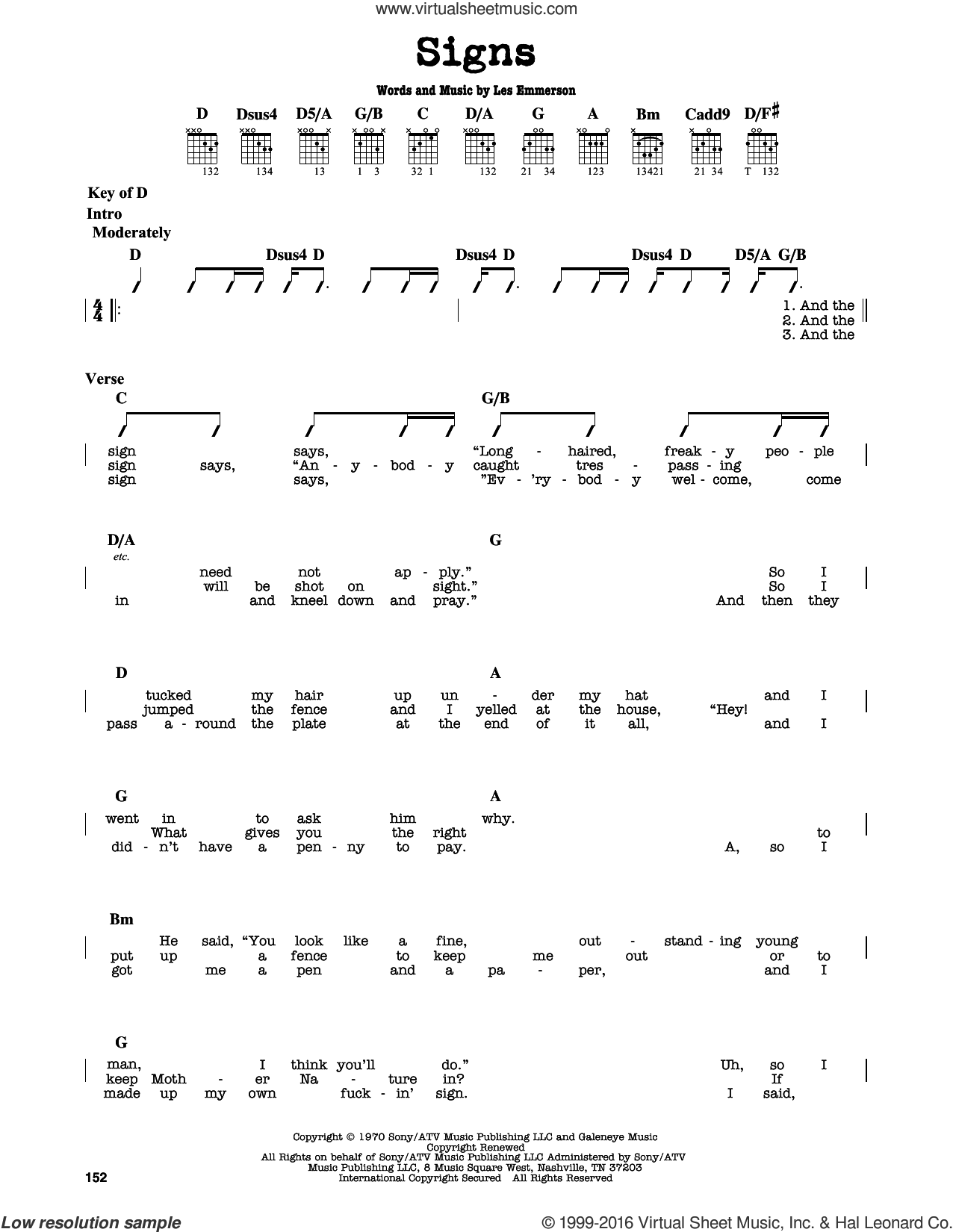 Signs sheet music for guitar solo (lead sheet) by Five Man Electrical Band, Tesla and Les Emmerson, intermediate guitar (lead sheet)