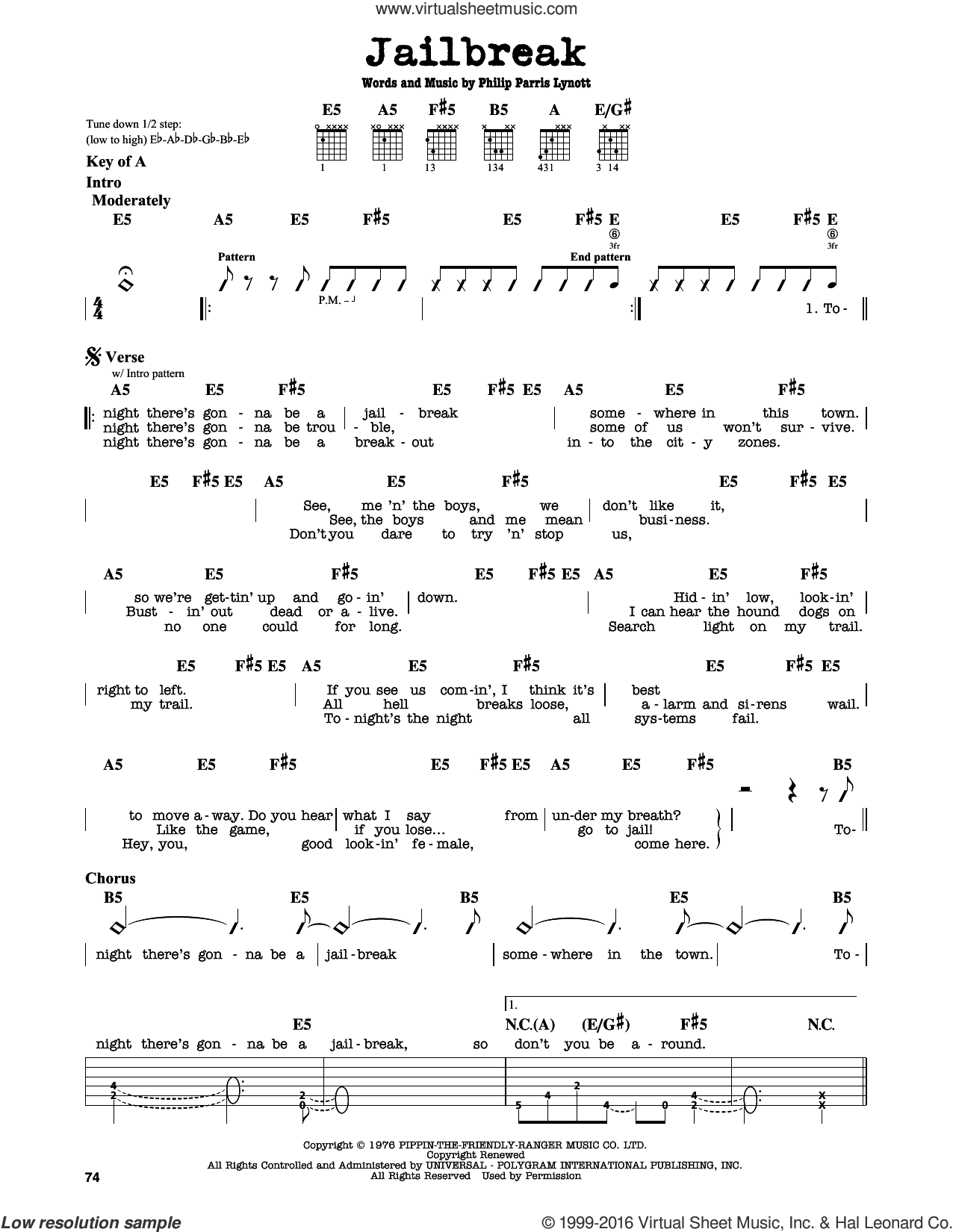 Jailbreak sheet music for guitar solo (lead sheet) by Thin Lizzy and Phil Lynott, intermediate guitar (lead sheet). Score Image Preview.