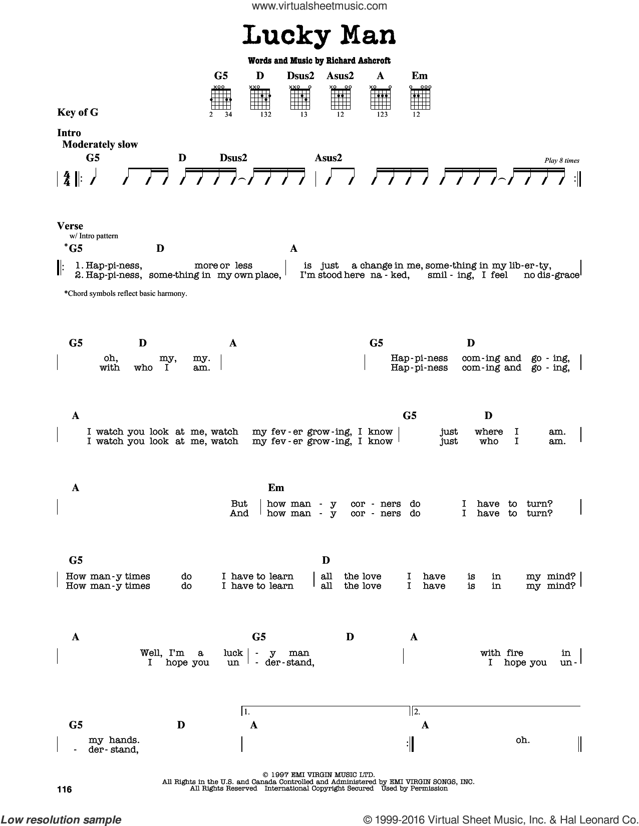 Lucky Man sheet music for guitar solo (lead sheet) by The Verve and Richard Ashcroft, intermediate guitar (lead sheet)