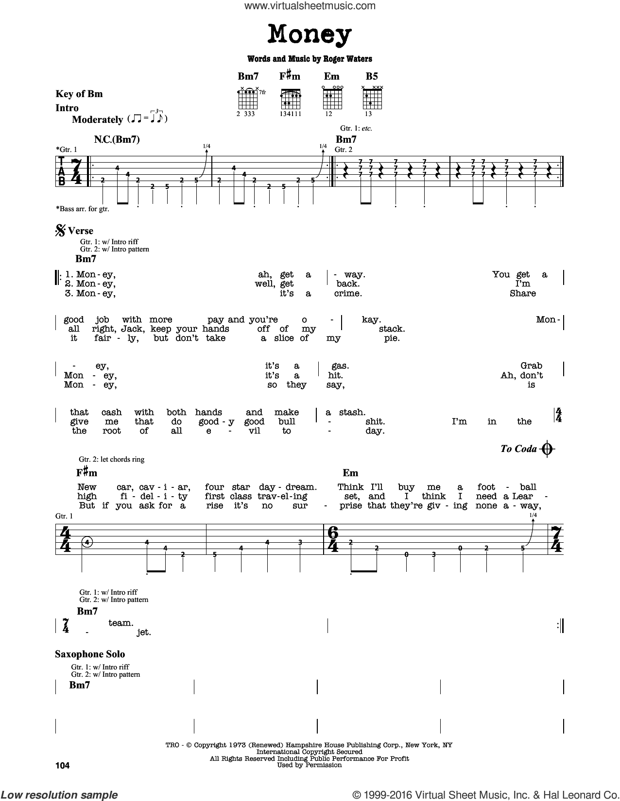 Money sheet music for guitar solo (lead sheet) by Pink Floyd and Roger Waters, intermediate guitar (lead sheet)