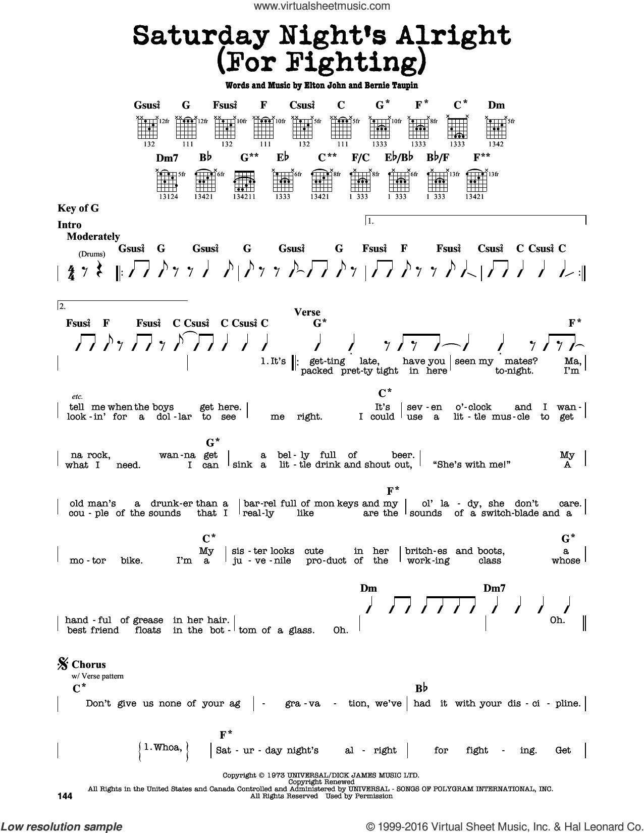 Saturday Night's Alright (For Fighting) sheet music for guitar solo (lead sheet) by Elton John and Bernie Taupin, intermediate guitar (lead sheet)