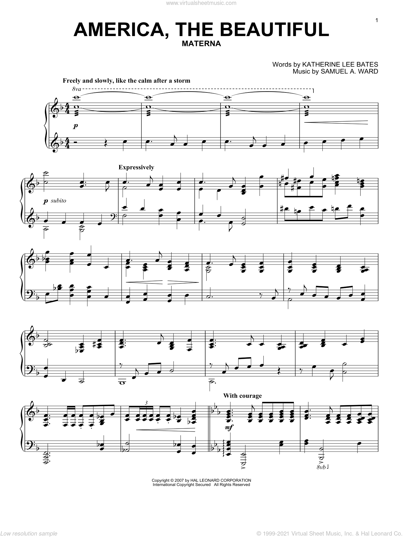 America, The Beautiful sheet music for piano solo by Samuel Augustus Ward