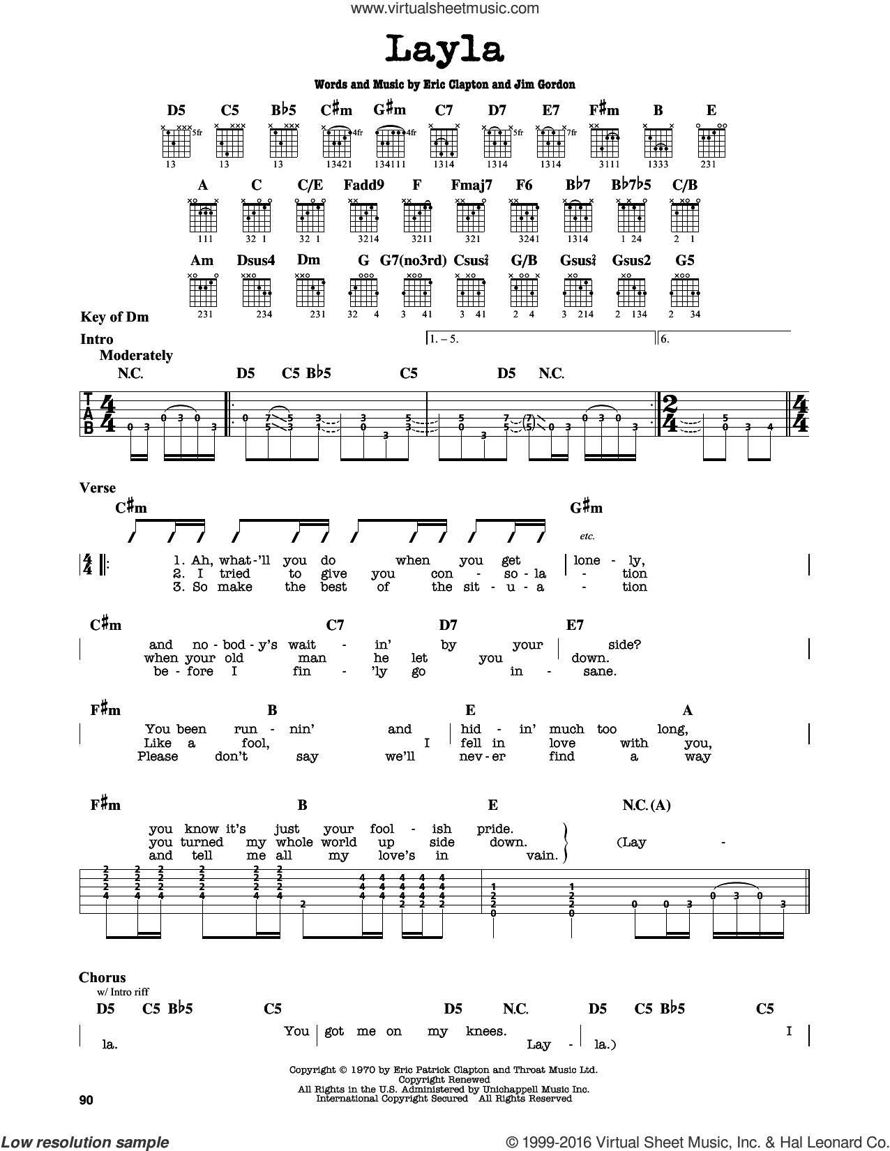 Layla sheet music for guitar solo (lead sheet) by Eric Clapton, Derek And The Dominos and Jim Gordon, intermediate guitar (lead sheet)
