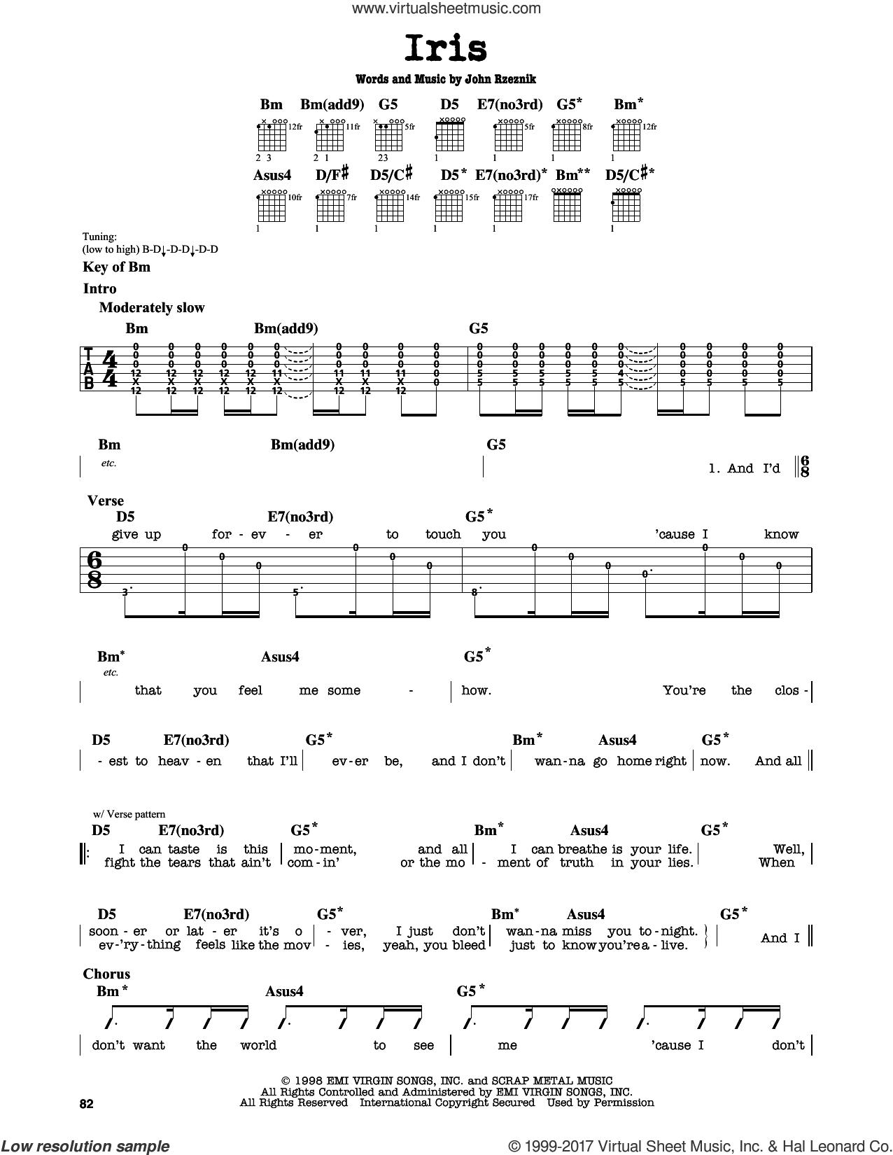 Iris sheet music for guitar solo (lead sheet) by Goo Goo Dolls and John Rzeznik, intermediate guitar (lead sheet)