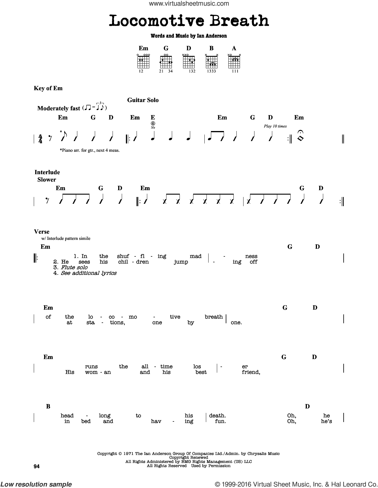 Locomotive Breath sheet music for guitar solo (lead sheet) by Ian Anderson. Score Image Preview.