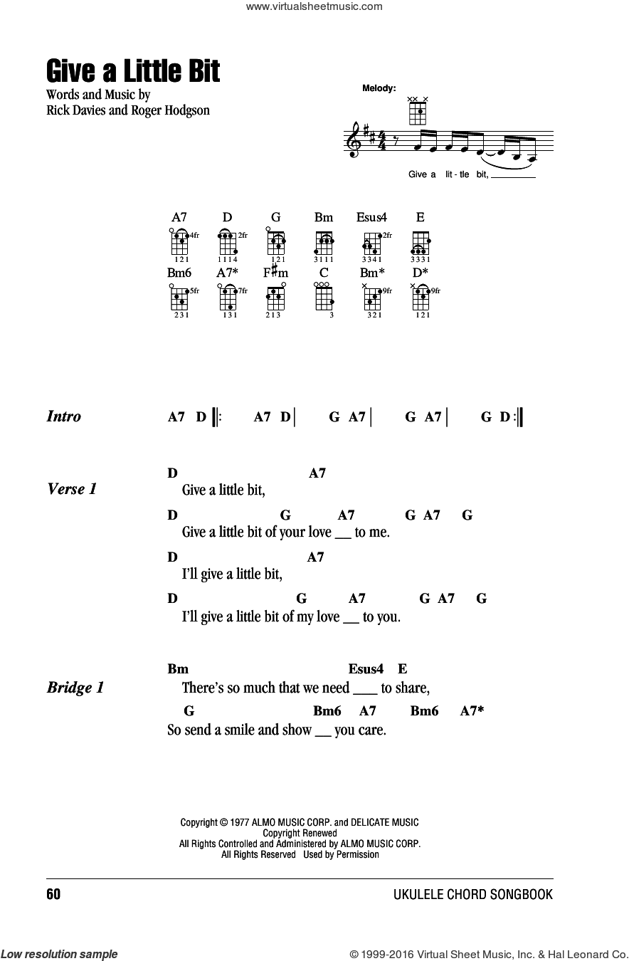 Give A Little Bit sheet music for ukulele (chords) by Supertramp, Goo Goo Dolls, Rick Davies and Roger Hodgson, intermediate. Score Image Preview.