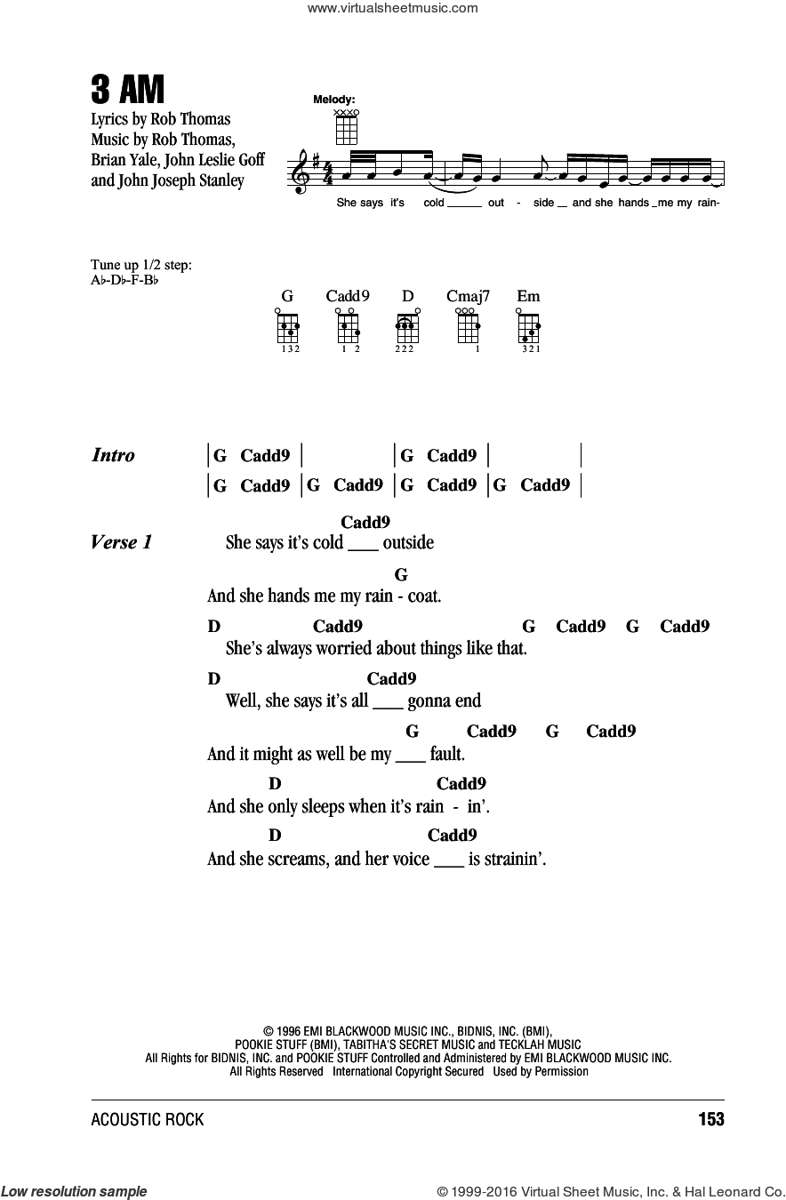 3 AM sheet music for ukulele (chords) by Rob Thomas and Brian Yale. Score Image Preview.