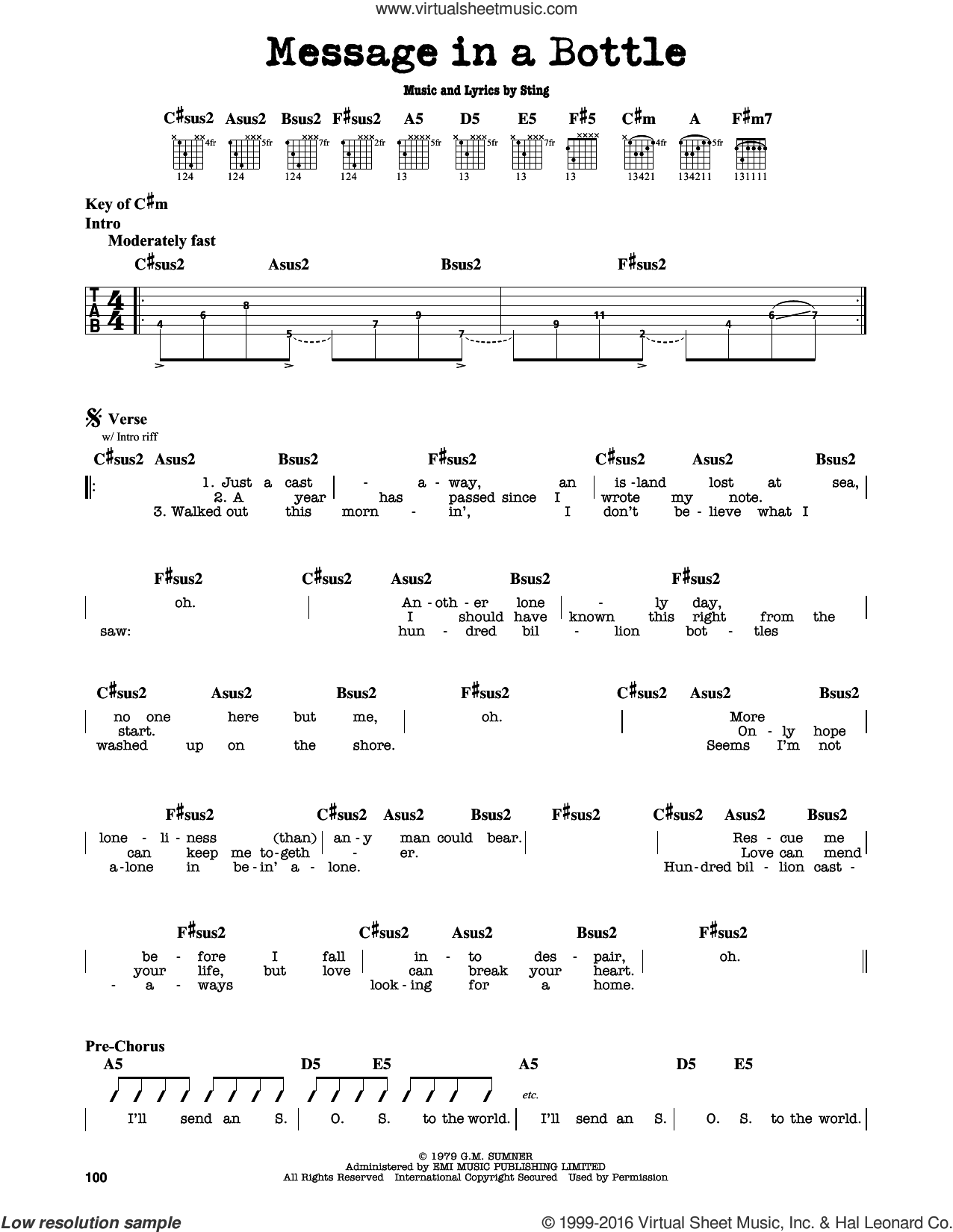 Message In A Bottle sheet music for guitar solo (lead sheet) by Sting