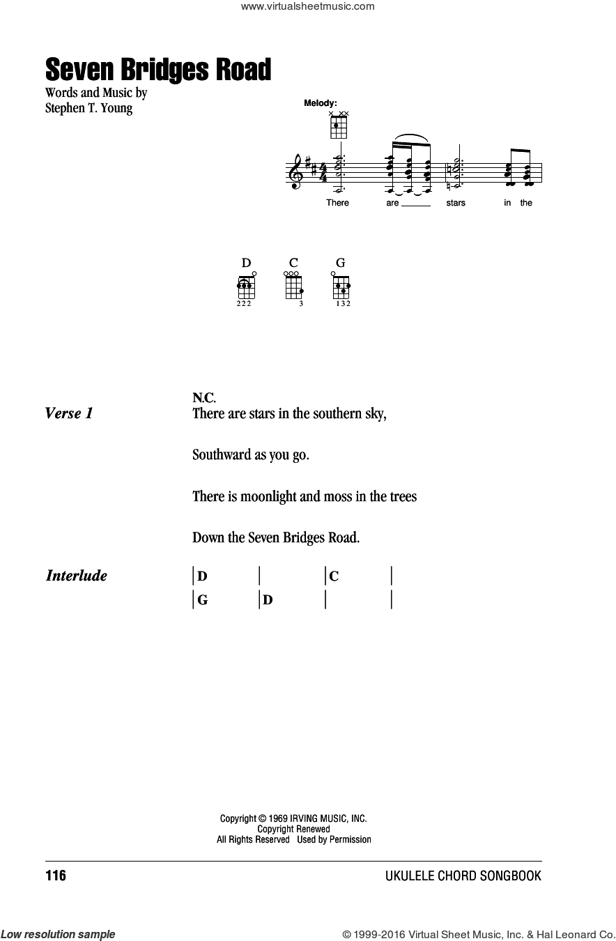 Eagles - Seven Bridges Road sheet music for ukulele (chords) v2