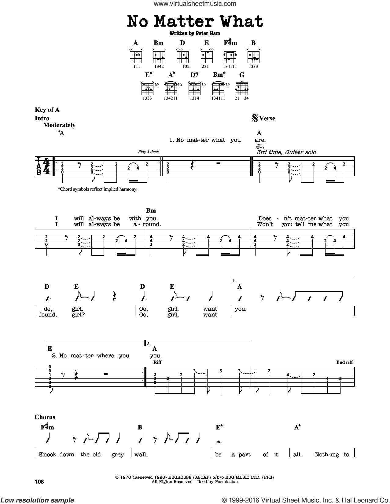 No Matter What sheet music for guitar solo (lead sheet) by Badfinger and Pete Ham, intermediate guitar (lead sheet)