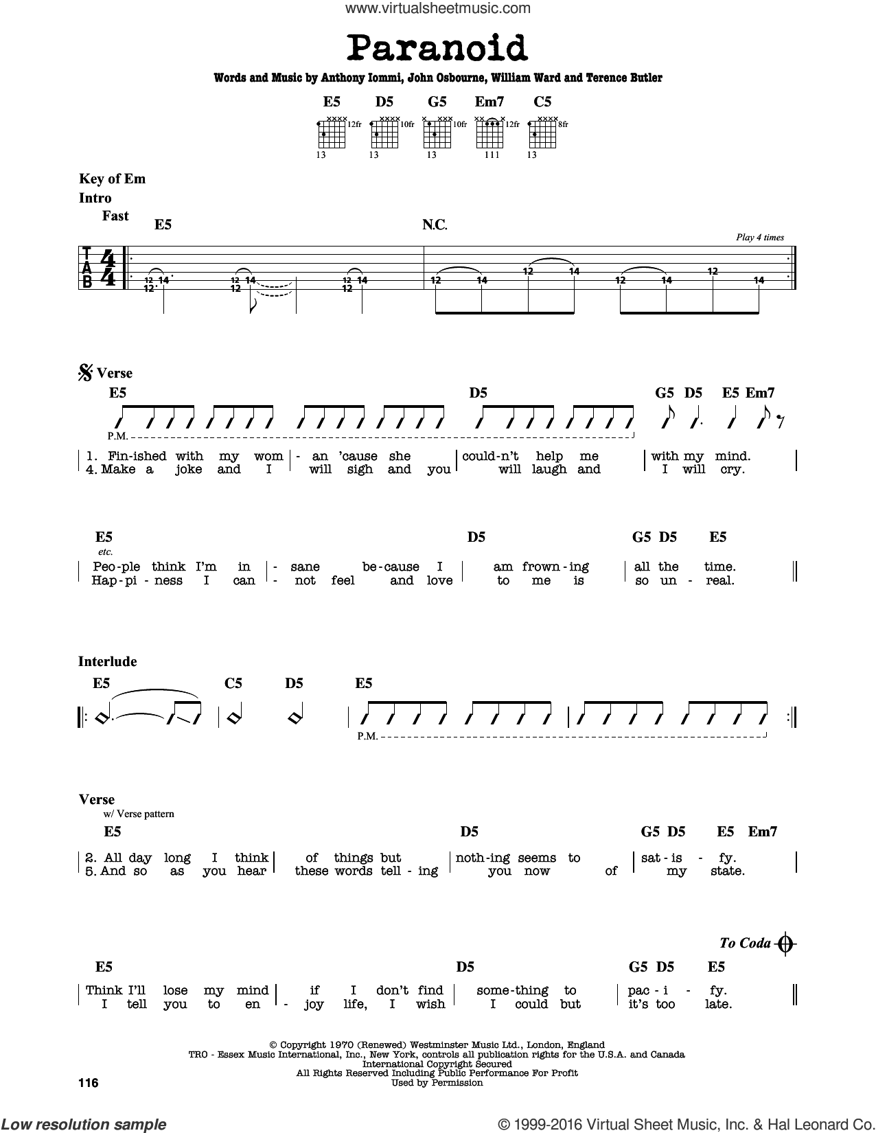 Paranoid sheet music for guitar solo (lead sheet) by William Ward, Black Sabbath and Terence Butler. Score Image Preview.