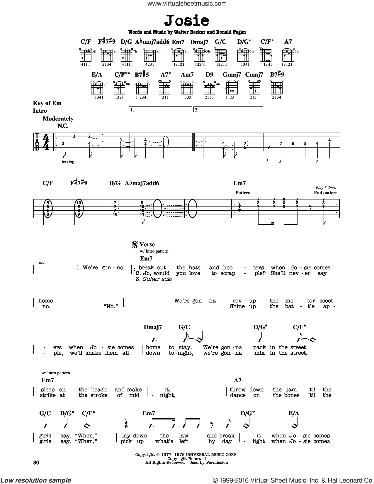 Josie sheet music for guitar solo (lead sheet) by Walter Becker and Donald Fagen. Score Image Preview.