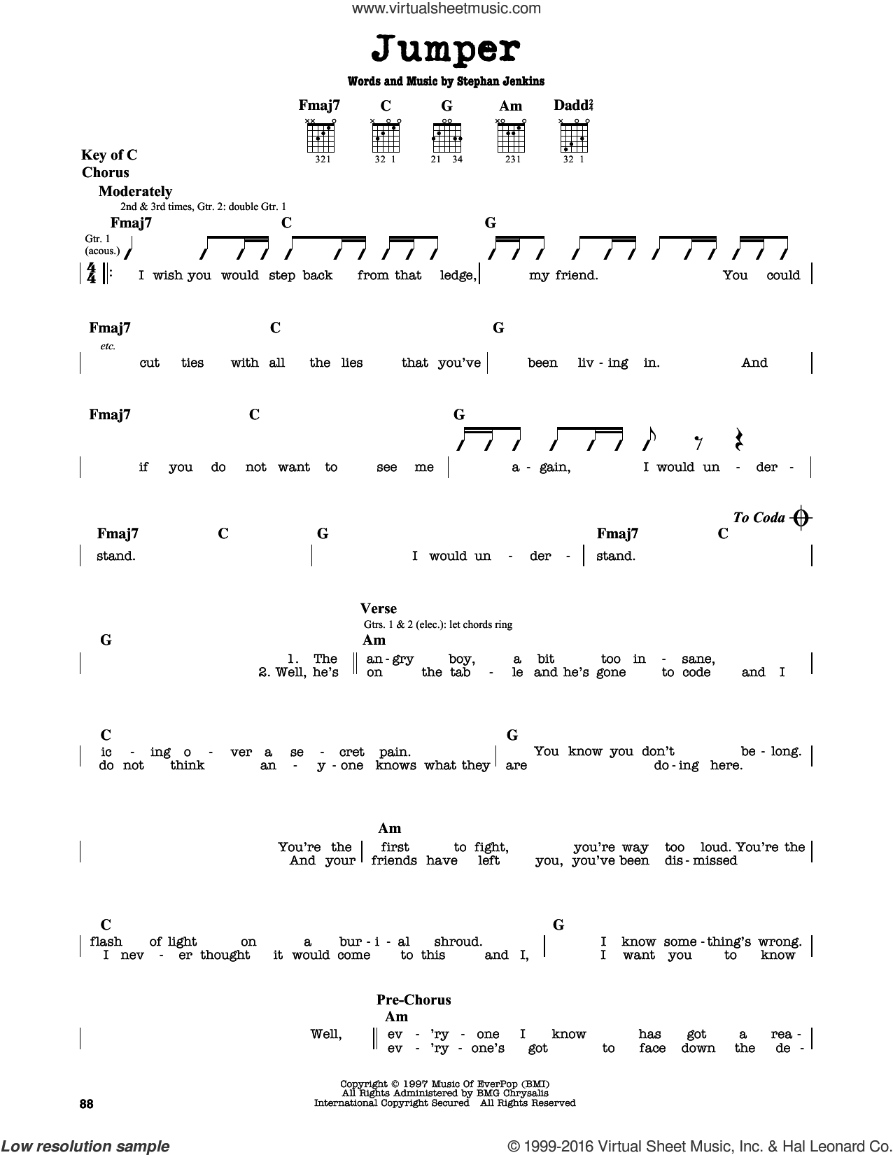 Jumper sheet music for guitar solo (lead sheet) by Third Eye Blind and Stephan Jenkins, intermediate guitar (lead sheet)