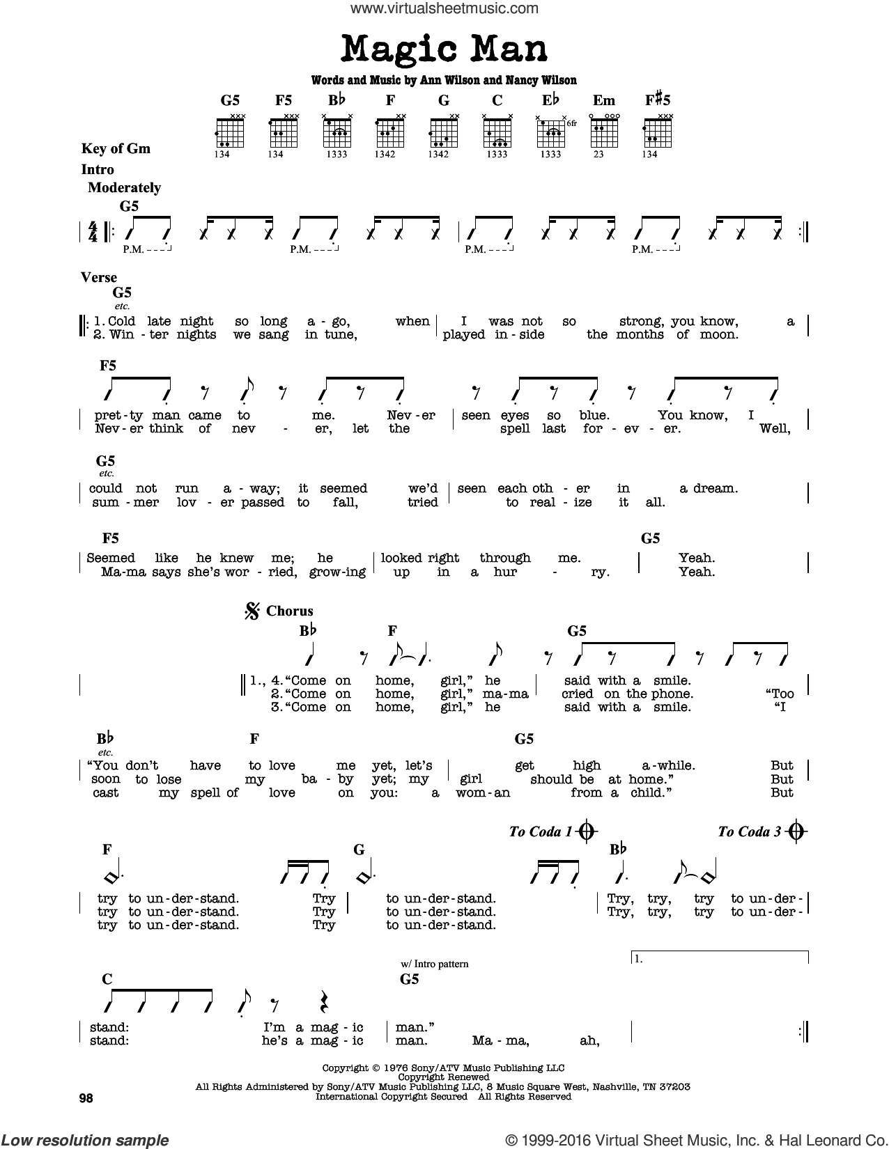 Magic Man sheet music for guitar solo (lead sheet) by Nancy Wilson, Heart and Ann Wilson. Score Image Preview.