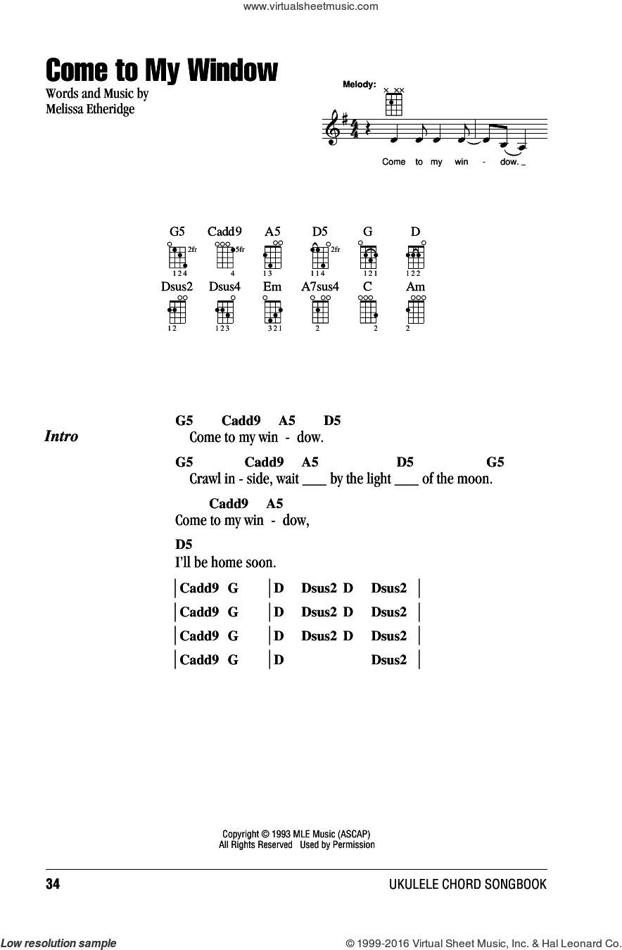 Come To My Window sheet music for ukulele (chords) by Melissa Etheridge, intermediate skill level
