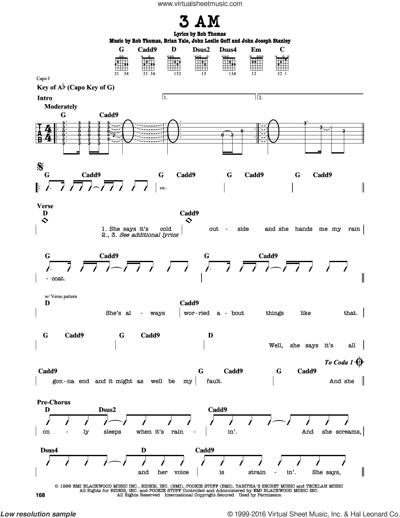 3 AM sheet music for guitar solo (lead sheet) by Rob Thomas and Brian Yale. Score Image Preview.