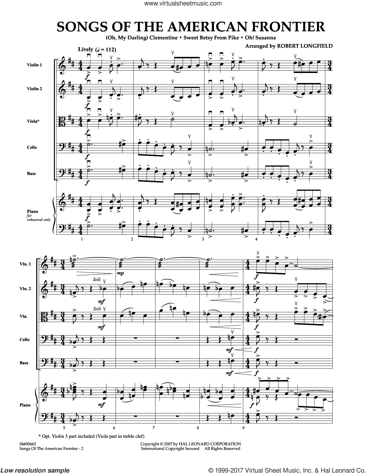 Songs Of The American Frontier (COMPLETE) sheet music for orchestra by Robert Longfield, intermediate. Score Image Preview.