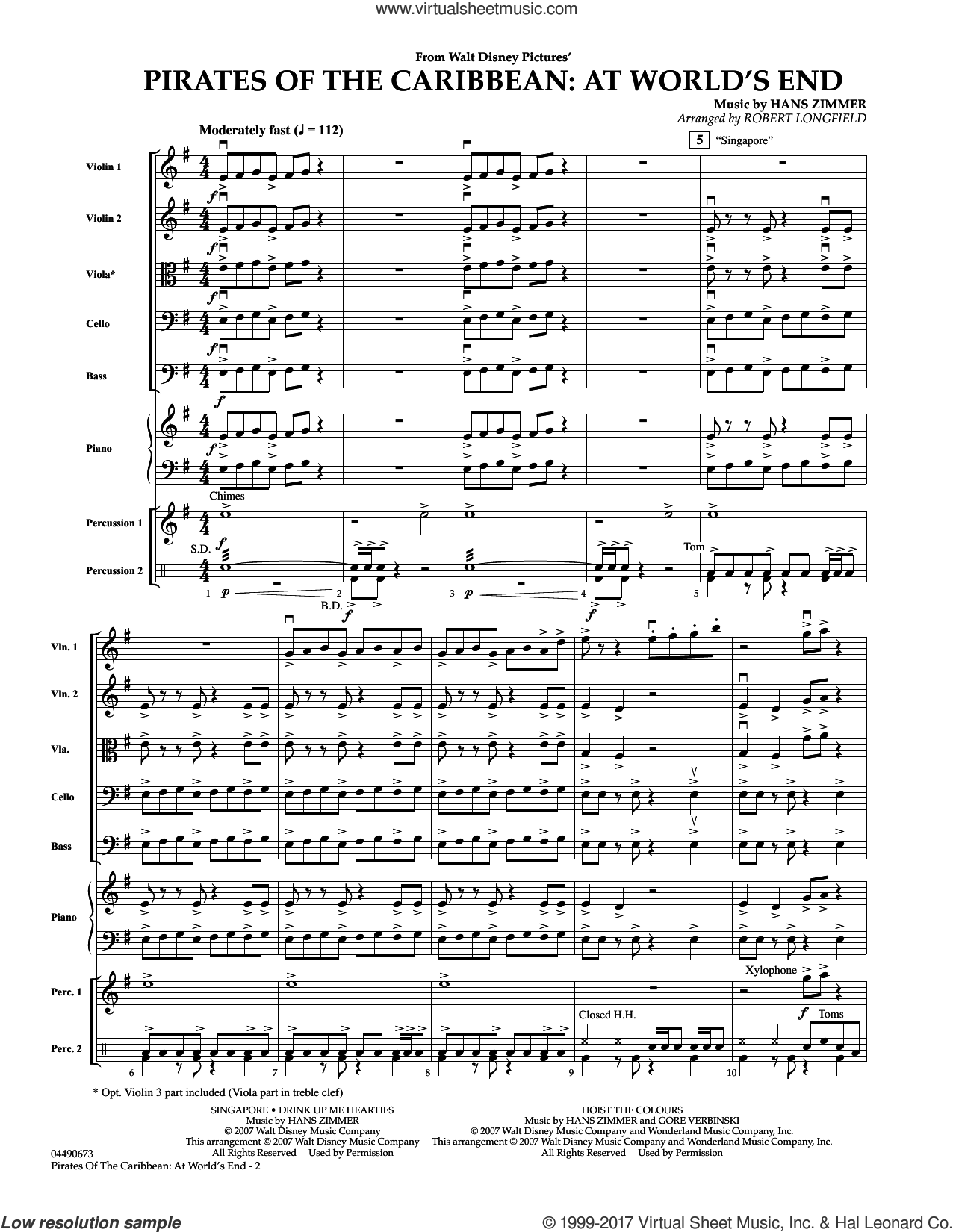 Pirates of the Caribbean: At World's End (COMPLETE) sheet music for orchestra by Robert Longfield and Hans Zimmer, intermediate skill level