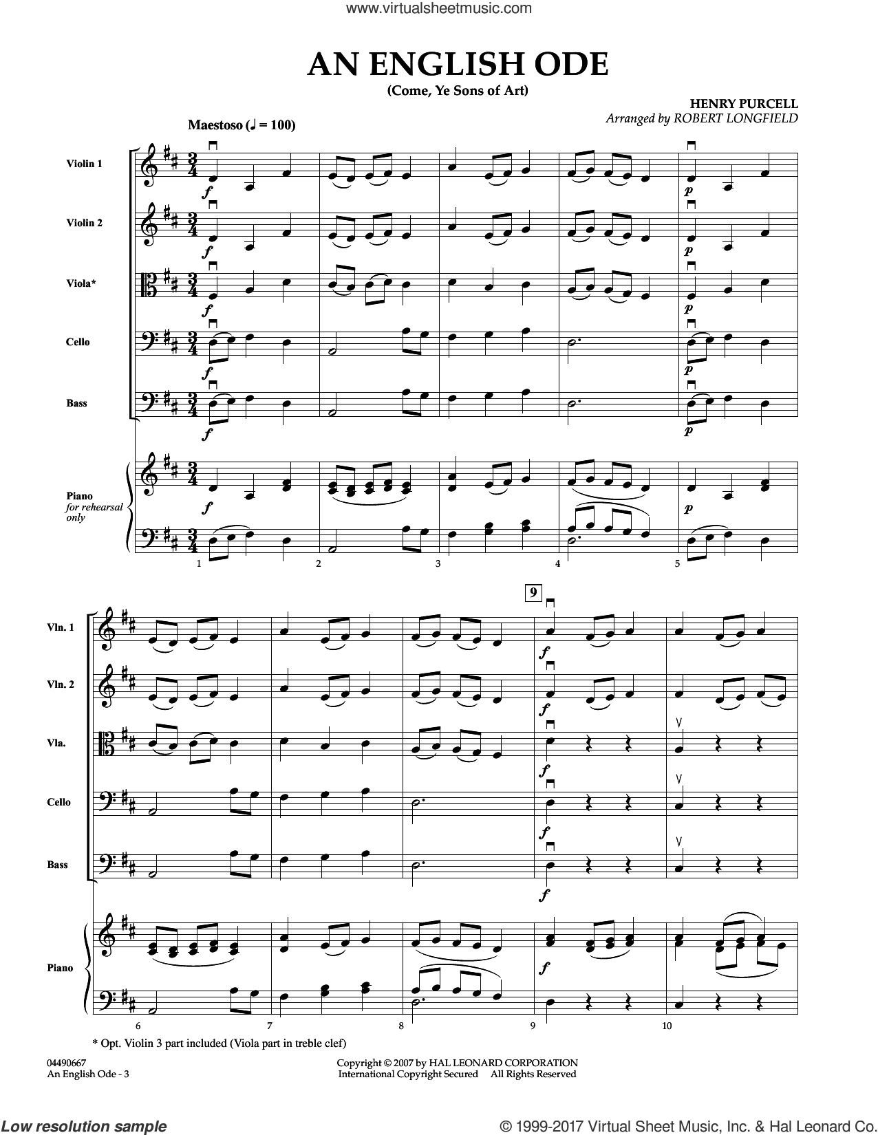 An English Ode (Come, Ye Sons of Art) (COMPLETE) sheet music for orchestra by Robert Longfield and Henry Purcell, classical score, intermediate skill level