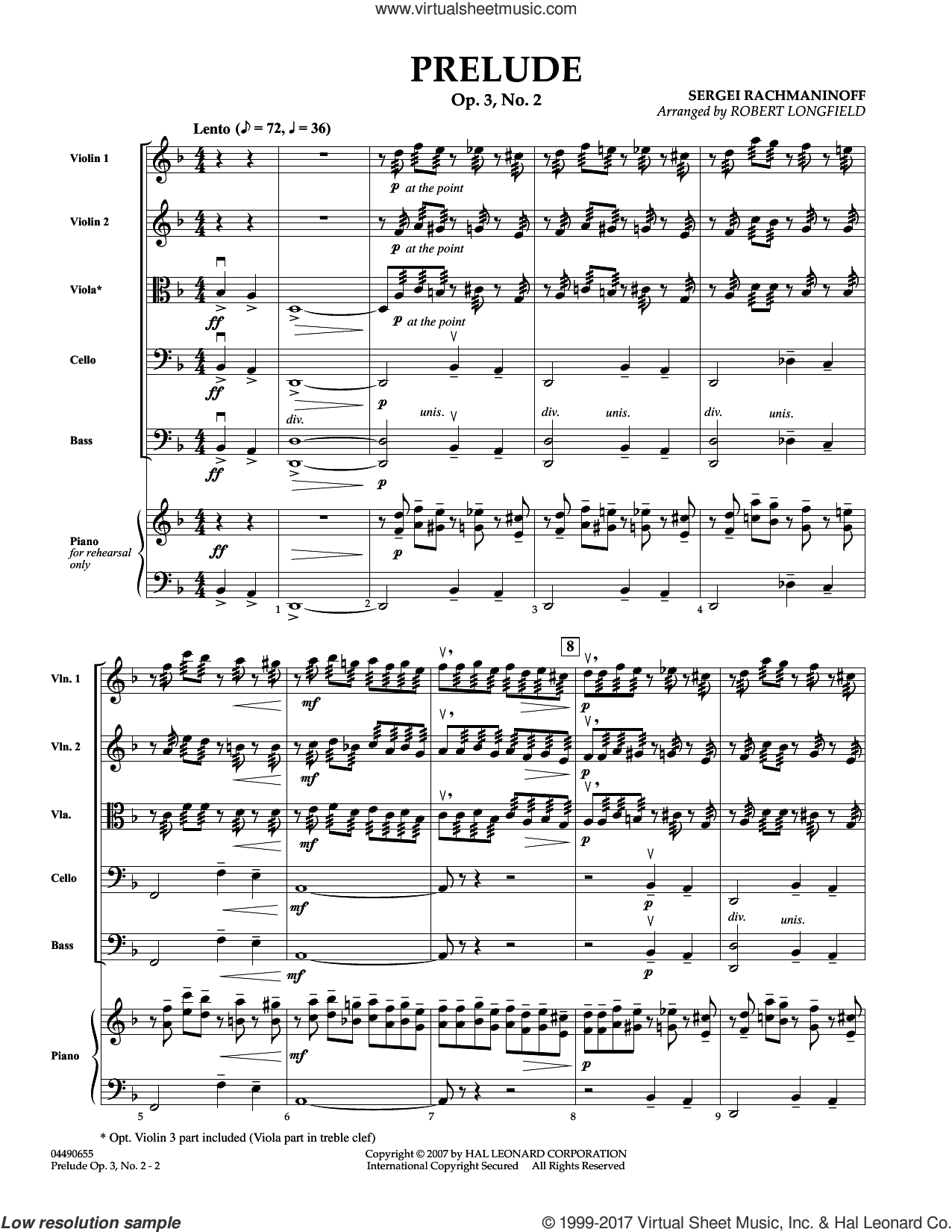 Prelude Op.3, No. 2 (COMPLETE) sheet music for orchestra by Robert Longfield and Serjeij Rachmaninoff, classical score, intermediate. Score Image Preview.