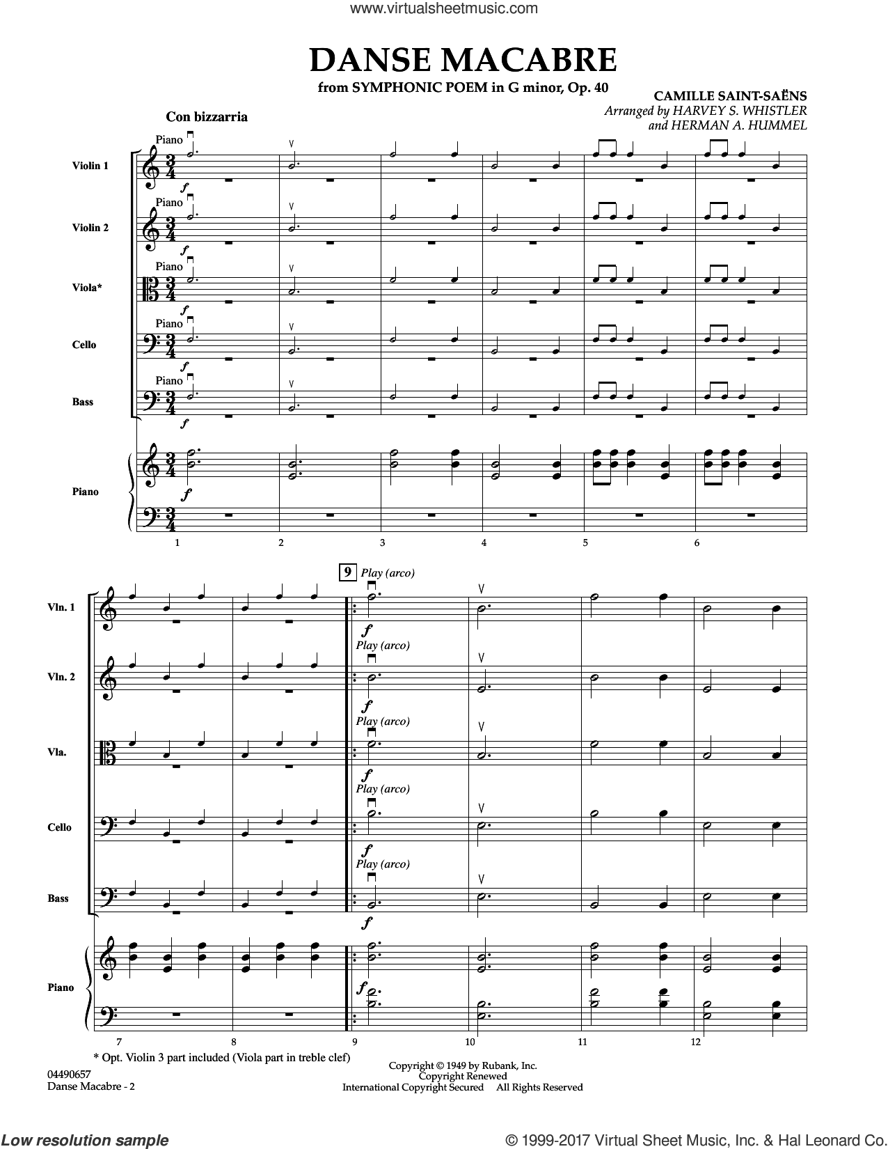 Danse Macabre (COMPLETE) sheet music for orchestra by Camille Saint-Saens, Camille Saint-SaA�A�ns, Harvey S. Whistler and Herman Hummel, classical score, intermediate skill level