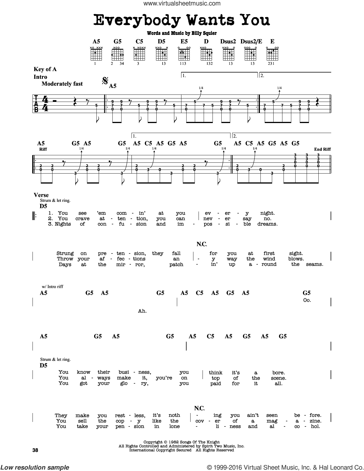 Everybody Wants You sheet music for guitar solo (lead sheet) by Billy Squier. Score Image Preview.