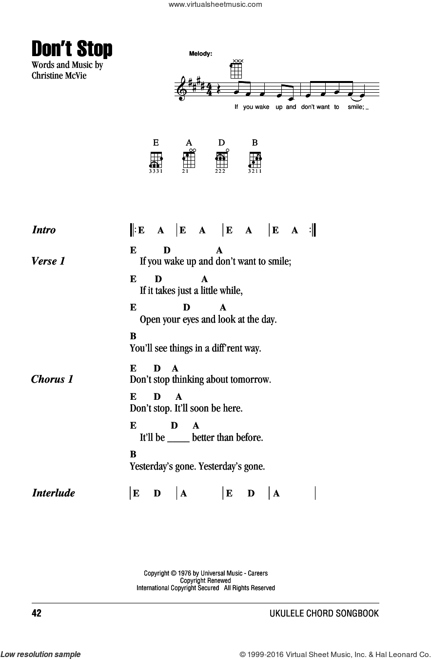 Don't Stop sheet music for ukulele (chords) by Fleetwood Mac, intermediate. Score Image Preview.