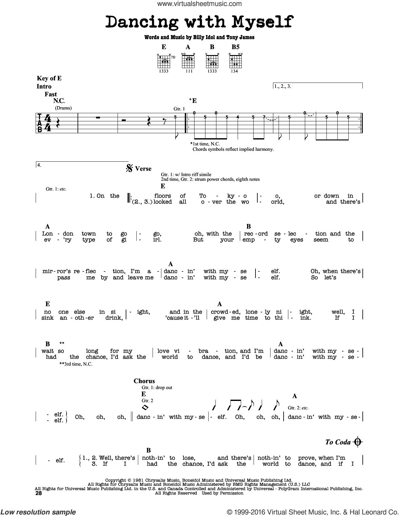 Dancing With Myself sheet music for guitar solo (lead sheet) by Tony James and Billy Idol. Score Image Preview.