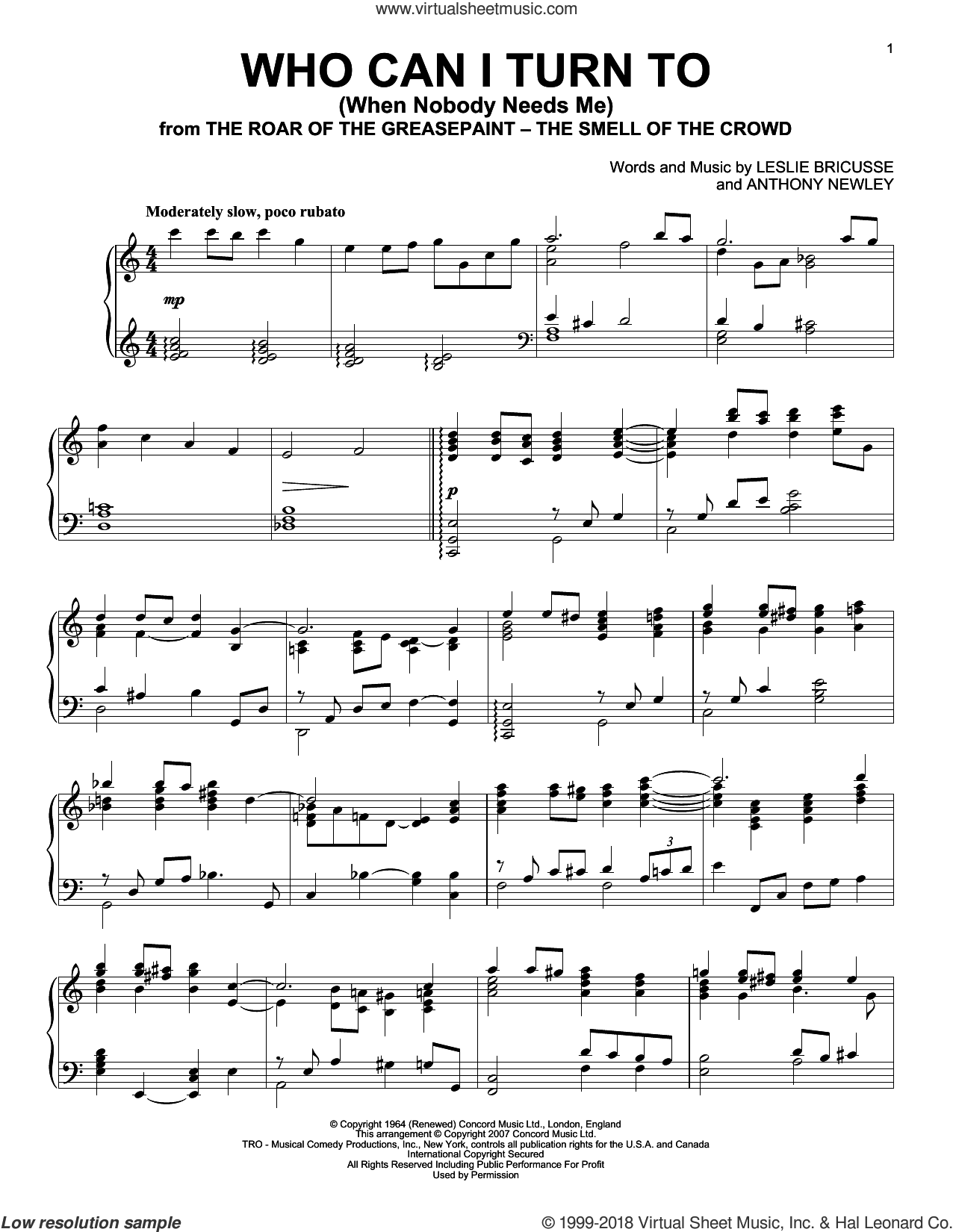Who Can I Turn To (When Nobody Needs Me) sheet music for piano solo by Tony Bennett, Anthony Newley and Leslie Bricusse, intermediate skill level