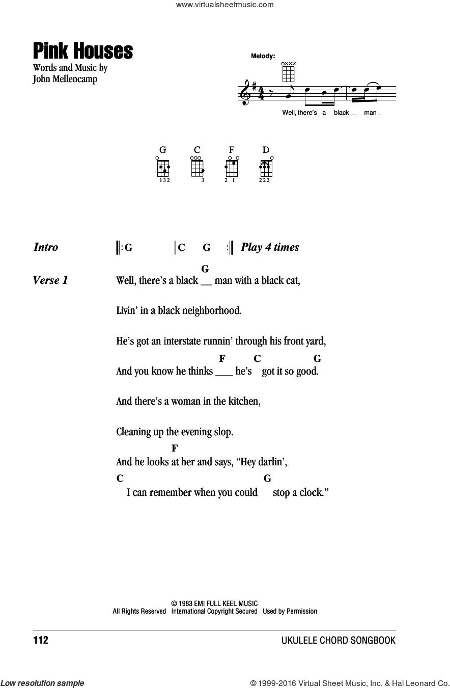 Pink Houses sheet music for ukulele (chords) by John Mellencamp, intermediate skill level