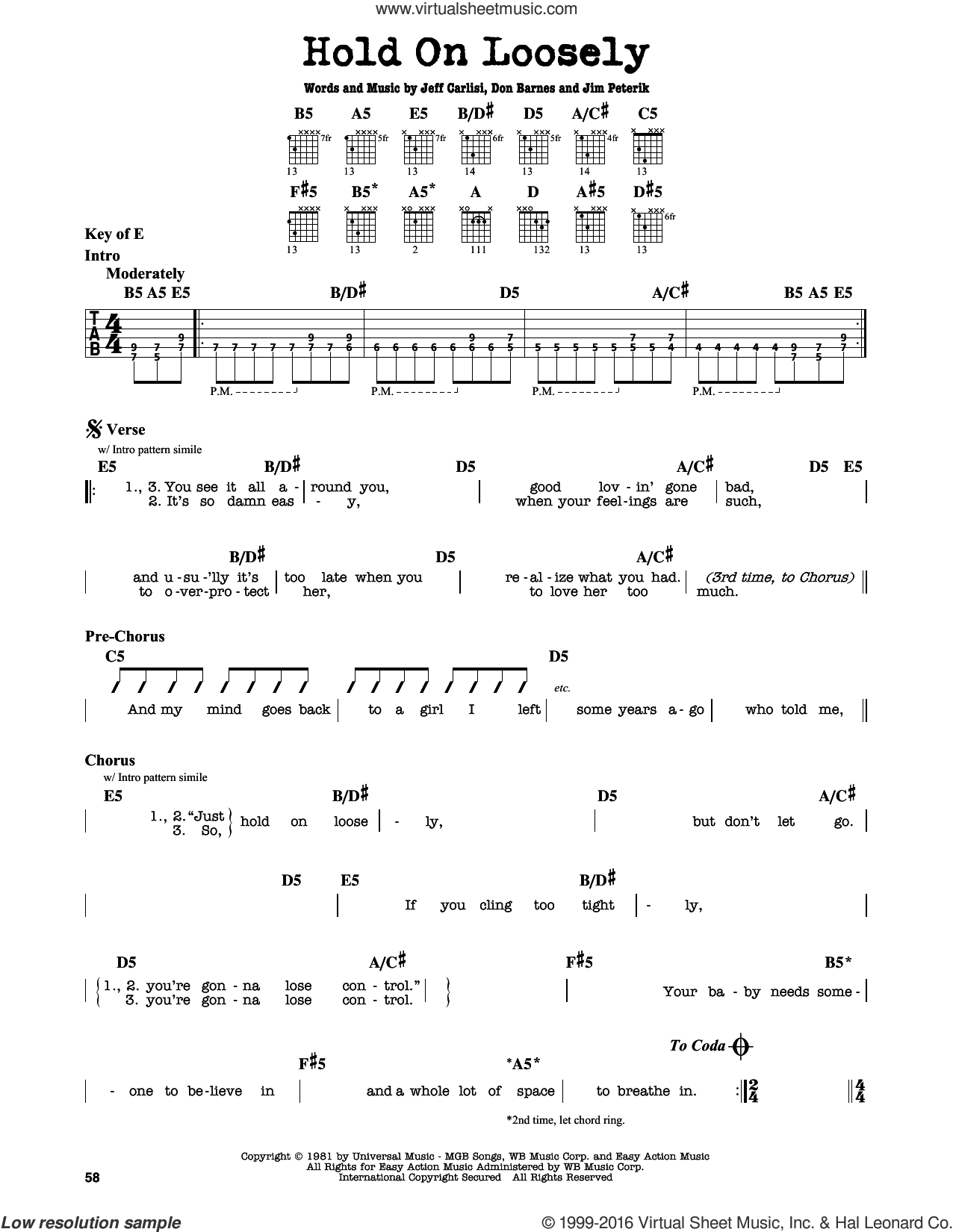 Hold On Loosely sheet music for guitar solo (lead sheet) by 38 Special, Don Barnes, Jeff Carlisi and Jim Peterik, intermediate guitar (lead sheet)