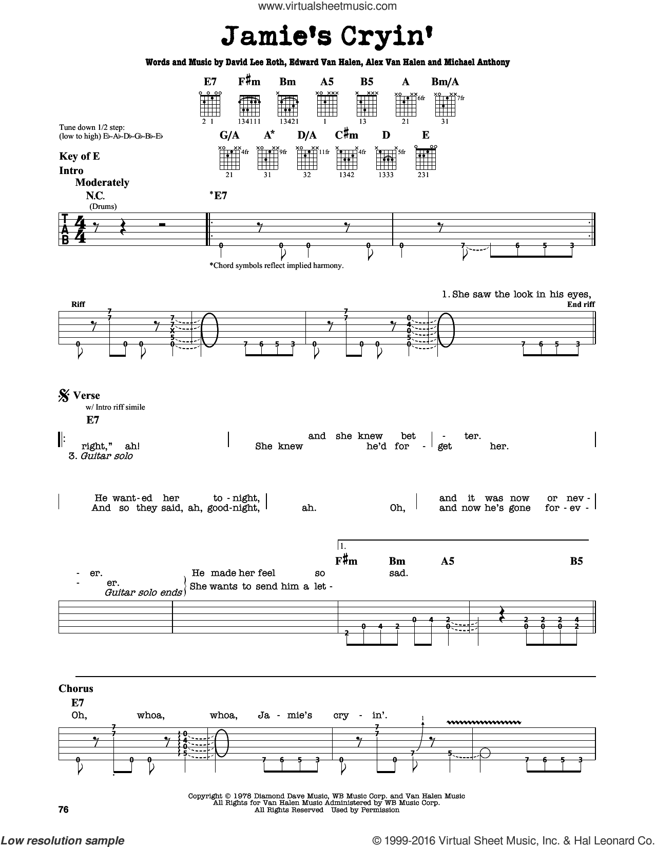 Jamie's Cryin' sheet music for guitar solo (lead sheet) by David Lee Roth, Alex Van Halen, Edward Van Halen and Michael Anthony, intermediate guitar (lead sheet). Score Image Preview.