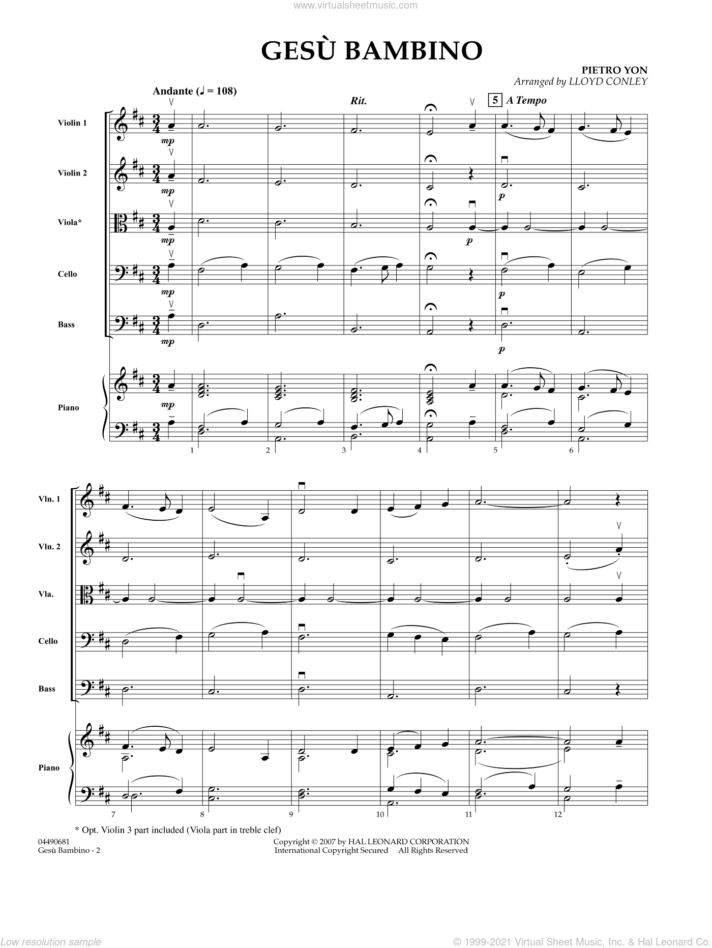 Gesu Bambino sheet music for orchestra (full score) by Lloyd Conley