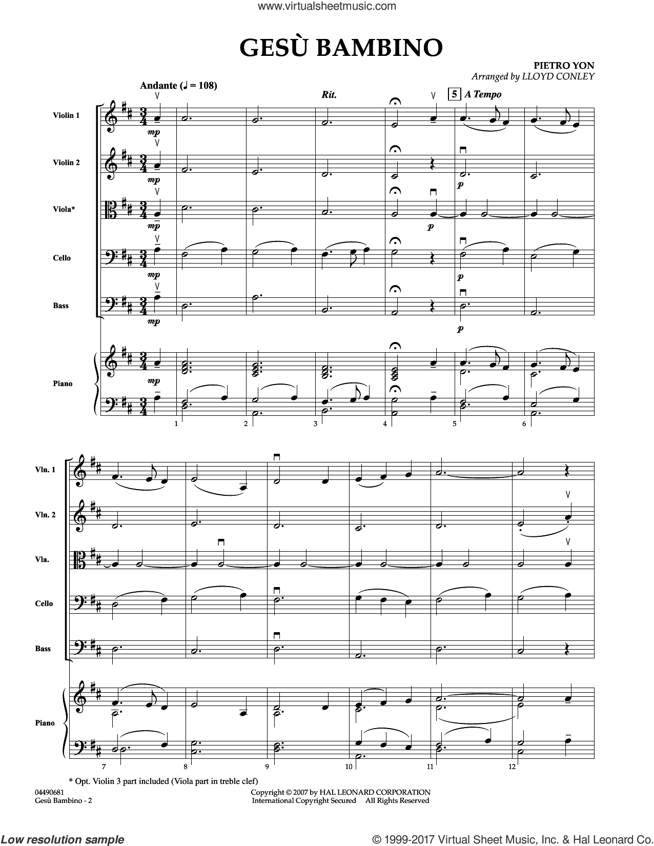 Gesu Bambino (COMPLETE) sheet music for orchestra by Lloyd Conley, Frederick H. Martens and Pietro Yon, intermediate