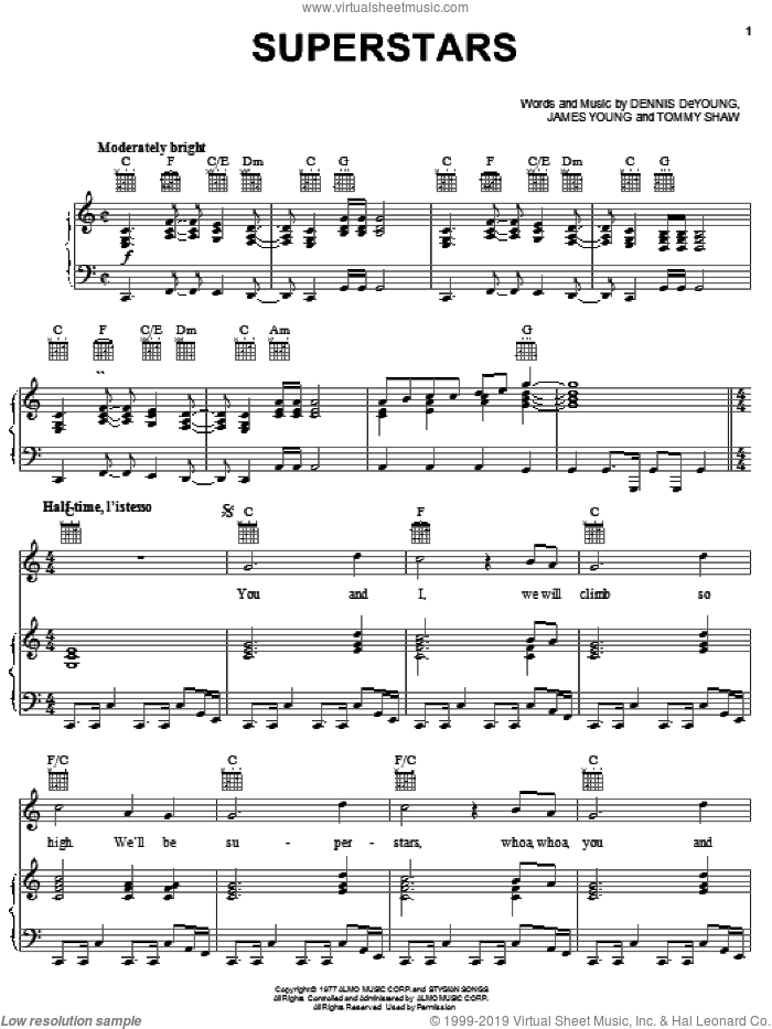 Superstars sheet music for voice, piano or guitar by Styx, Dennis DeYoung, James Young and Tommy Shaw, intermediate skill level